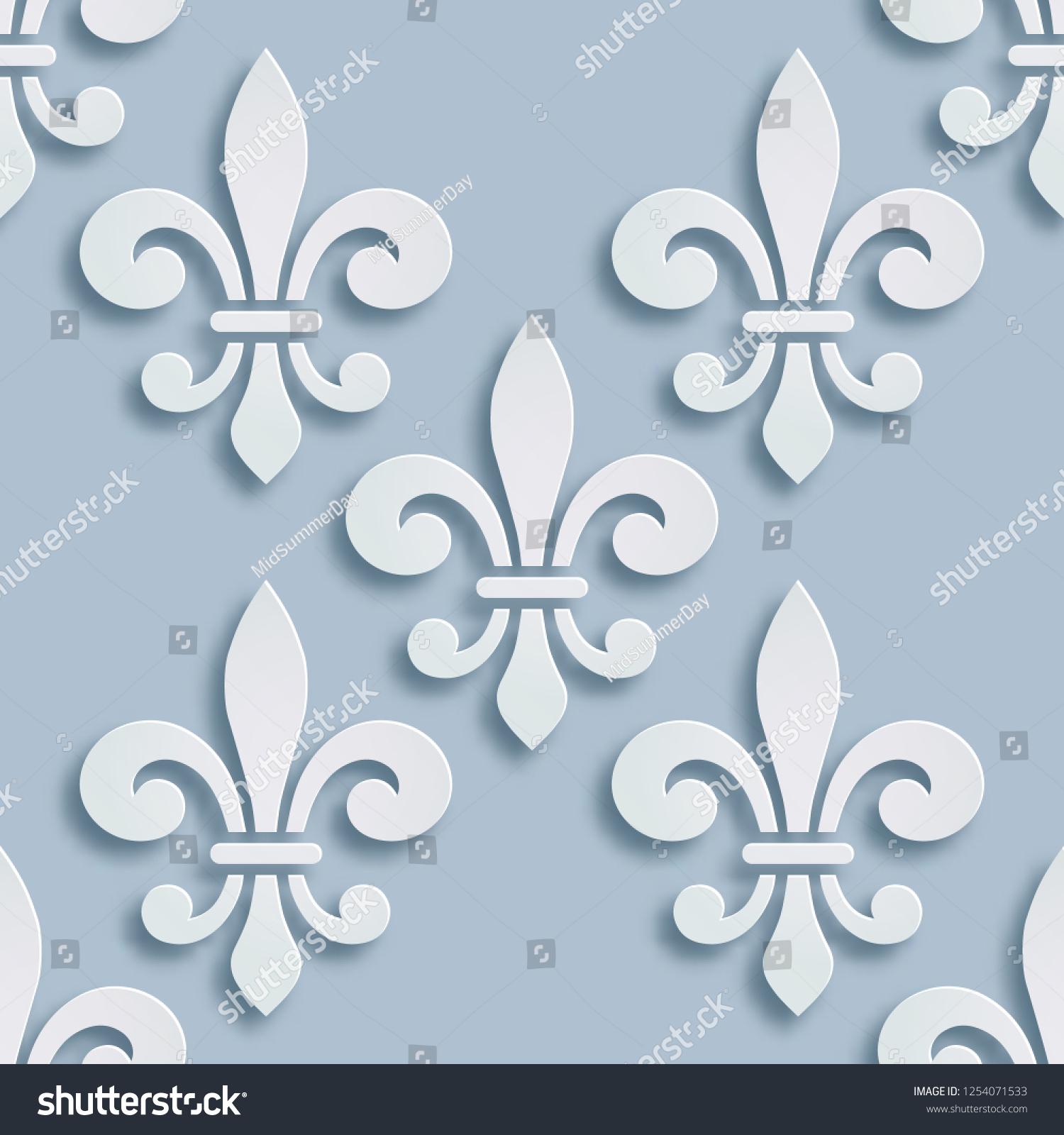 Fleurdelis Seamless Background Symbol French Heraldry Stockvector