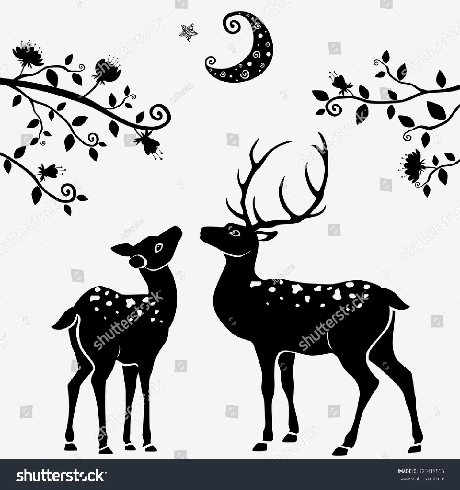 Deer illustration black and white - photo#46