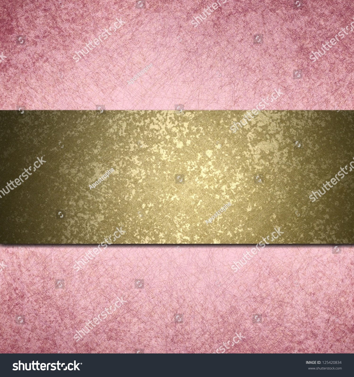 Abstract Pink Background Gold Ribbon Layout Design With ...