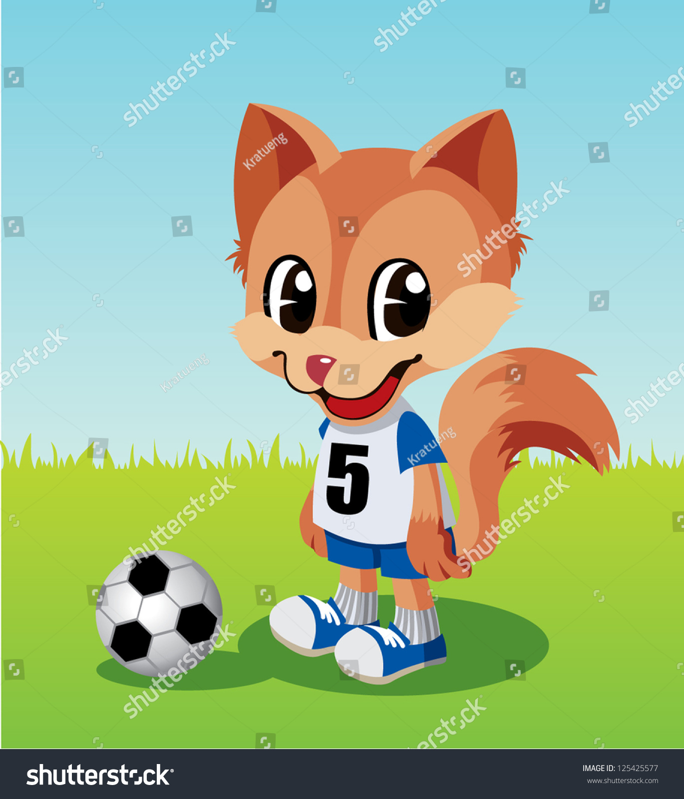 soccer player little fox stock vector 125425577 shutterstock