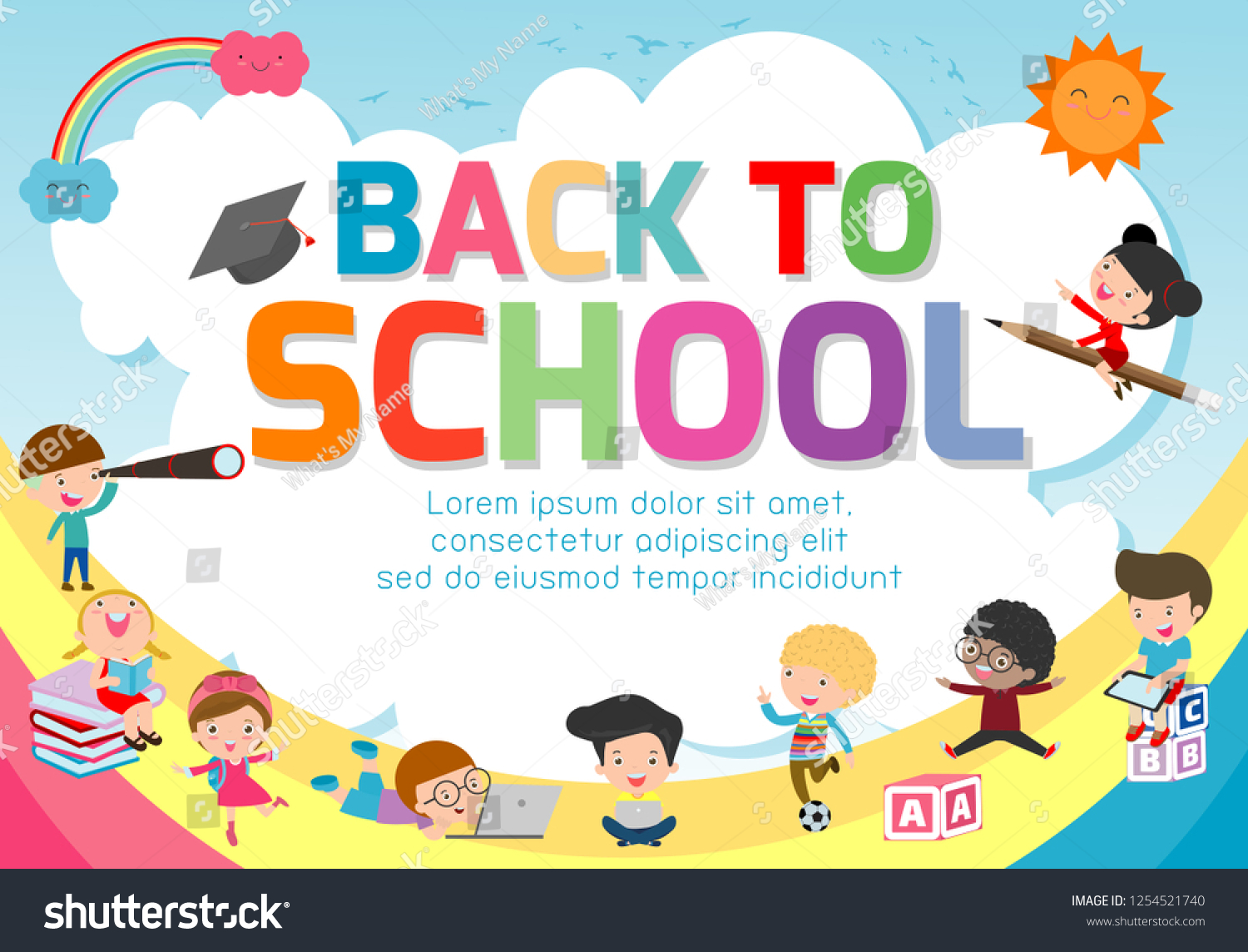 Back School Banner Backgroundwelcome Back School Stock Vector Royalty Free 1254521740