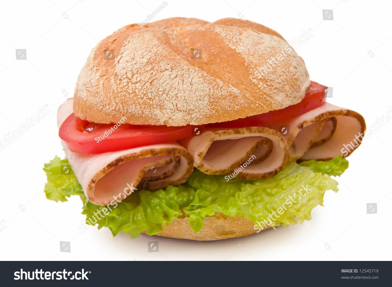 Fresh Kaiser Roll Sandwich Roasted Turkey Stockfoto Jetzt