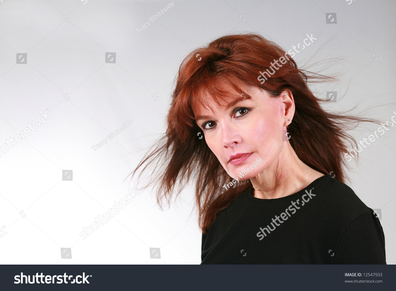 closeup beautiful mature redhead woman model stock photo & image