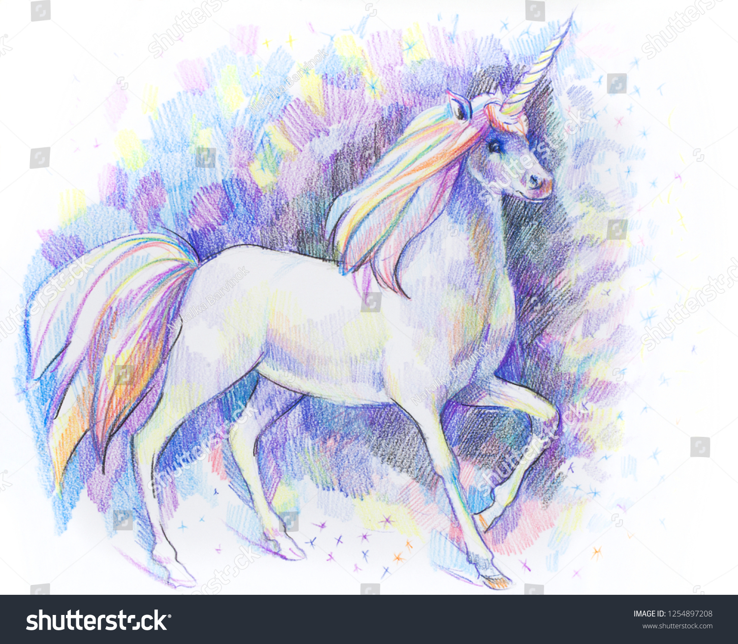 Unicorn by colored pencil drawing