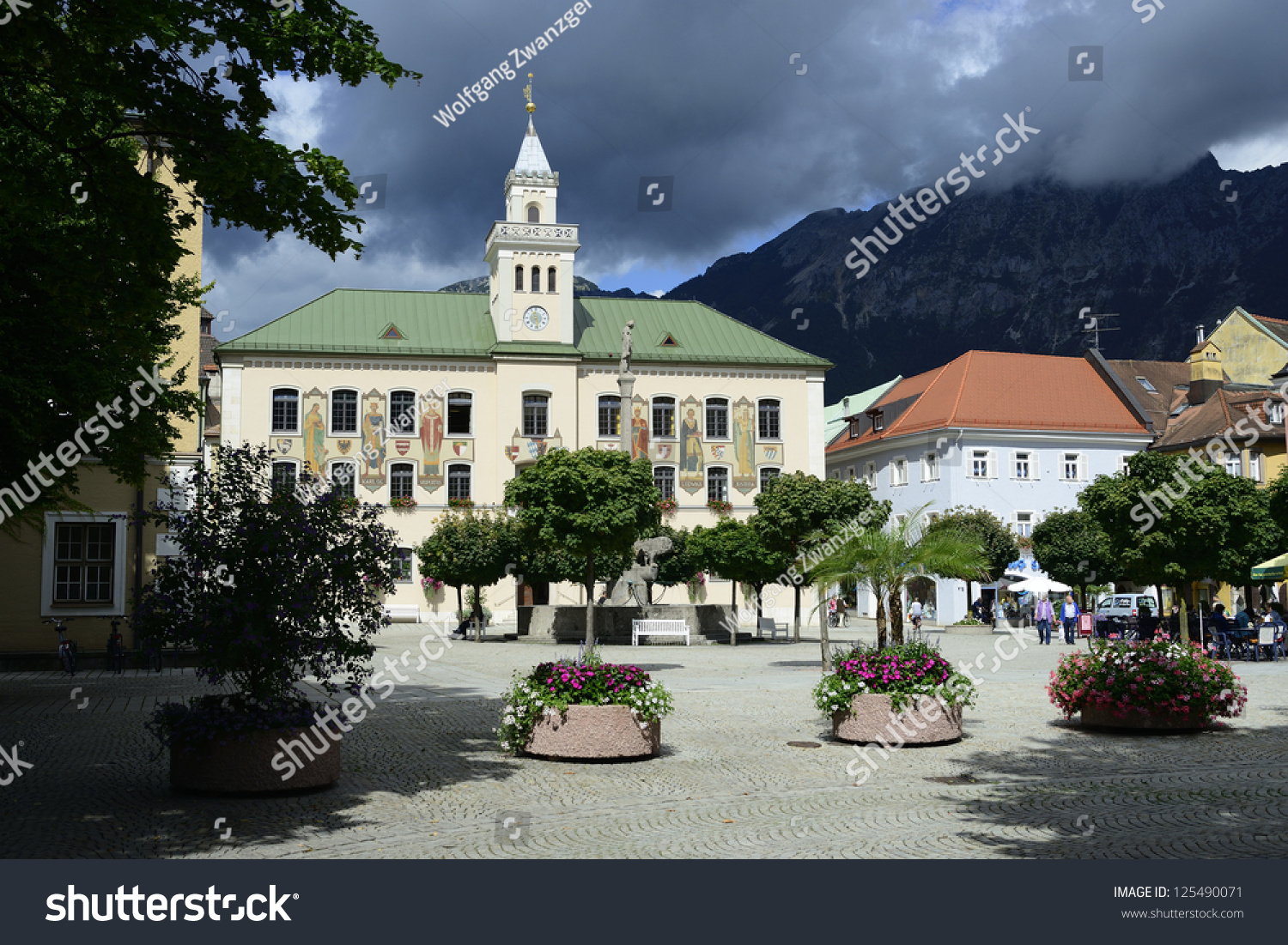 townhall bad reichenhall germany thunderclouds stock photo 125490071 shutterstock. Black Bedroom Furniture Sets. Home Design Ideas