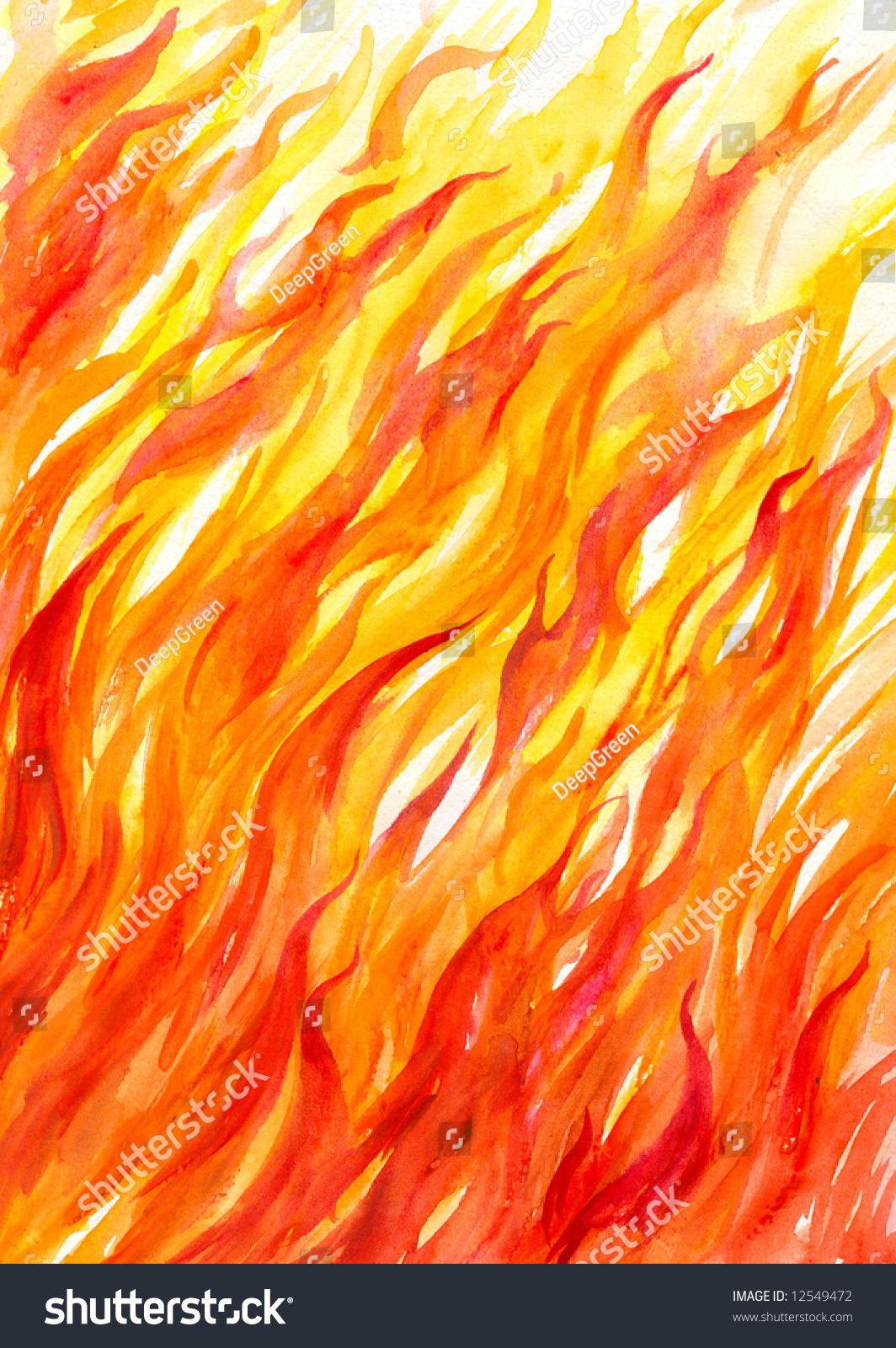 Как рисовать акварелью огонь