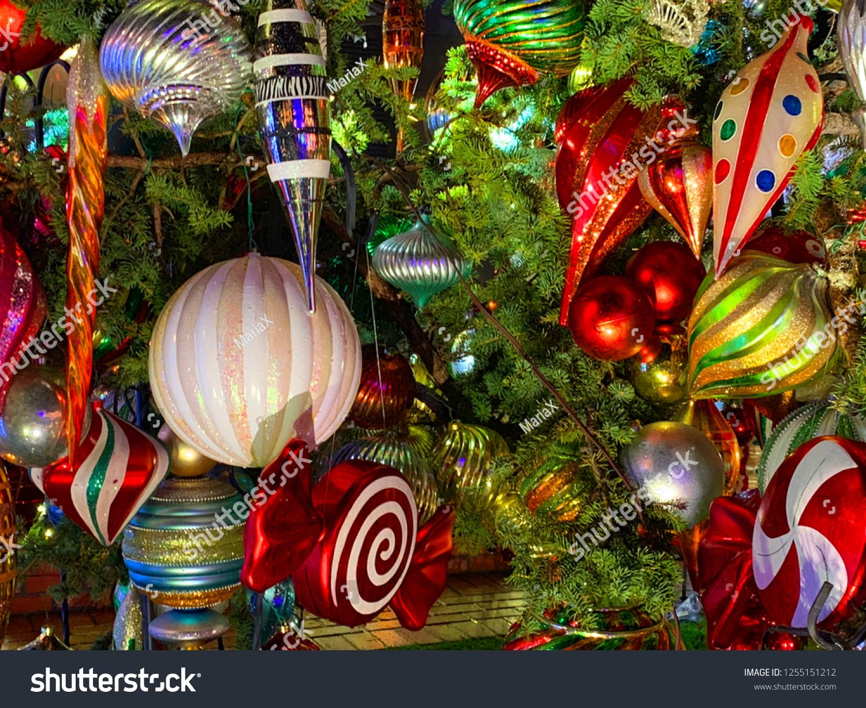 Closeup Festive Christmas Tree Decorations Colorful Stock Photo Edit Now 1255151212