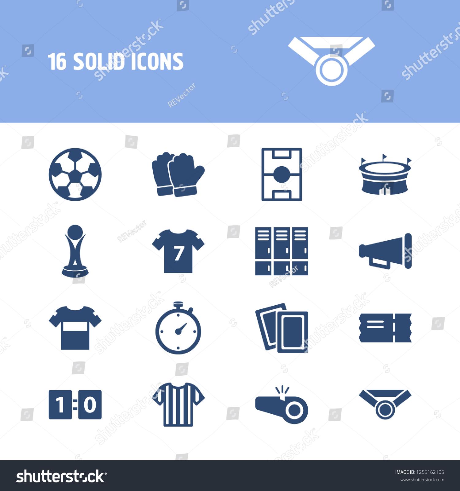 Football Icon Set Lockers Football Shirt Stock Illustration