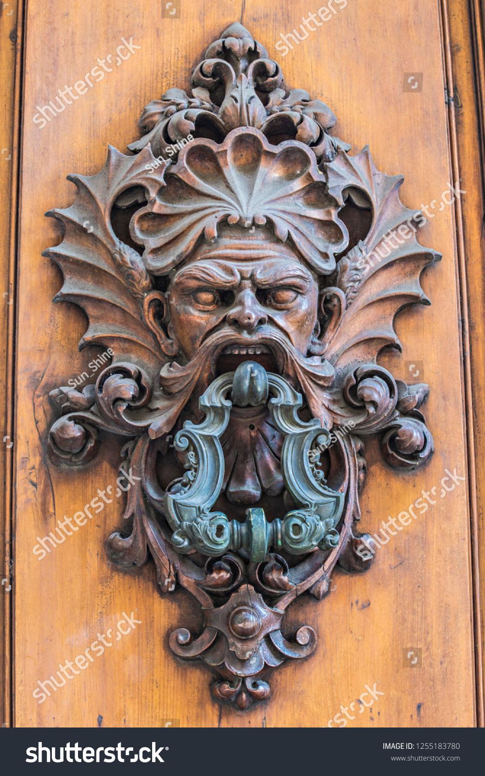 Picture of: Antique Bronze Door Knocker Shape Scary Stock Photo Edit Now 1255183780