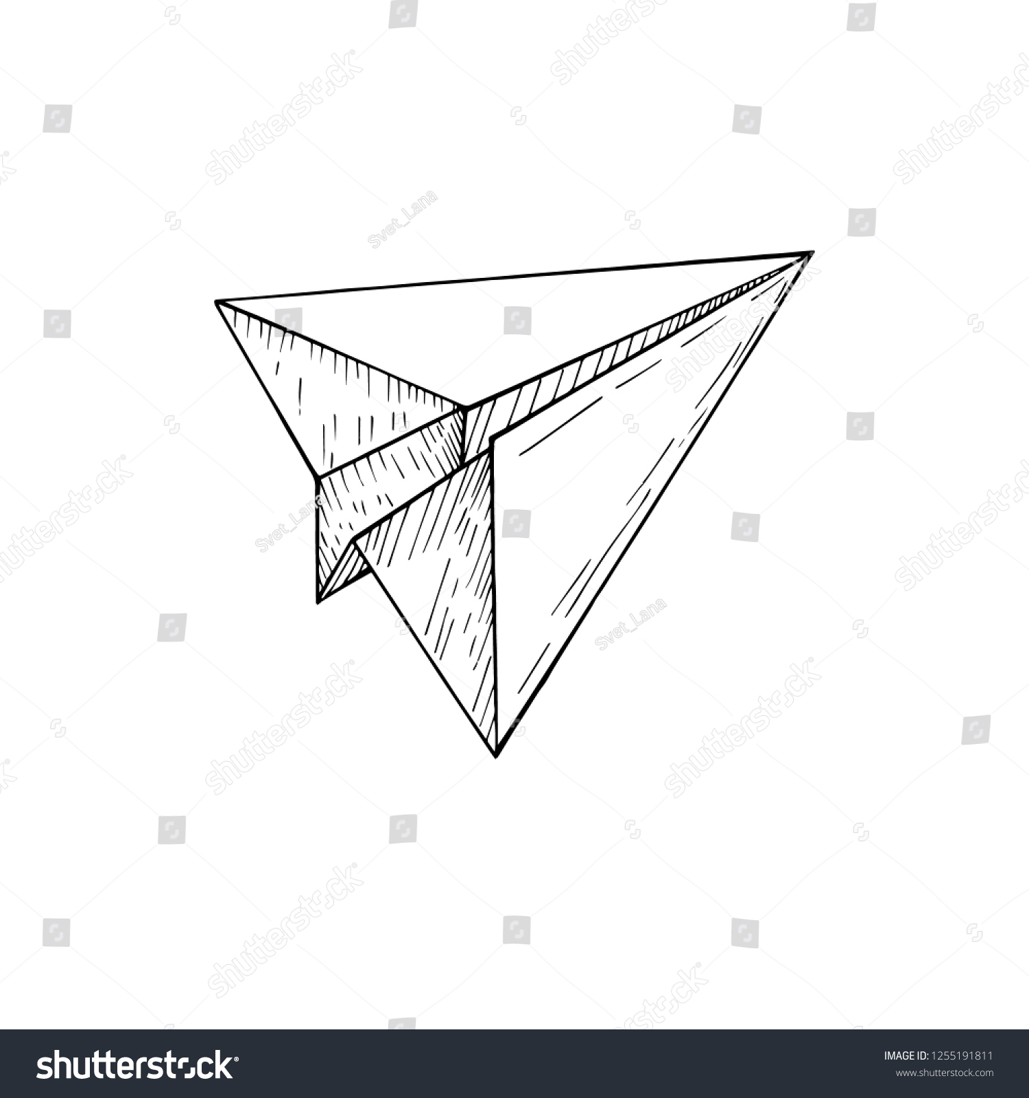 Vector Paper Airplane Isolated Hand Drawn Stock Vector Royalty