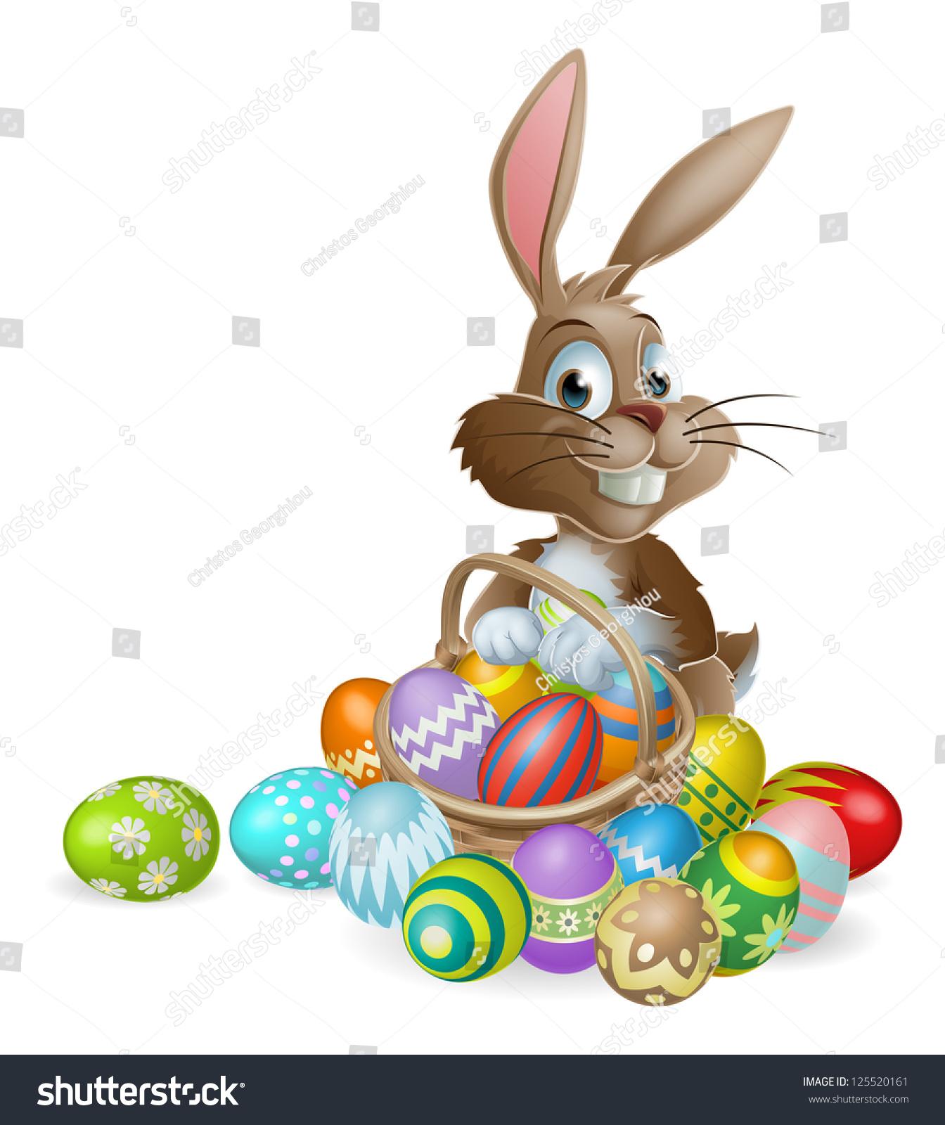 easter bunny rabbit easter basket full stock vector 125520161