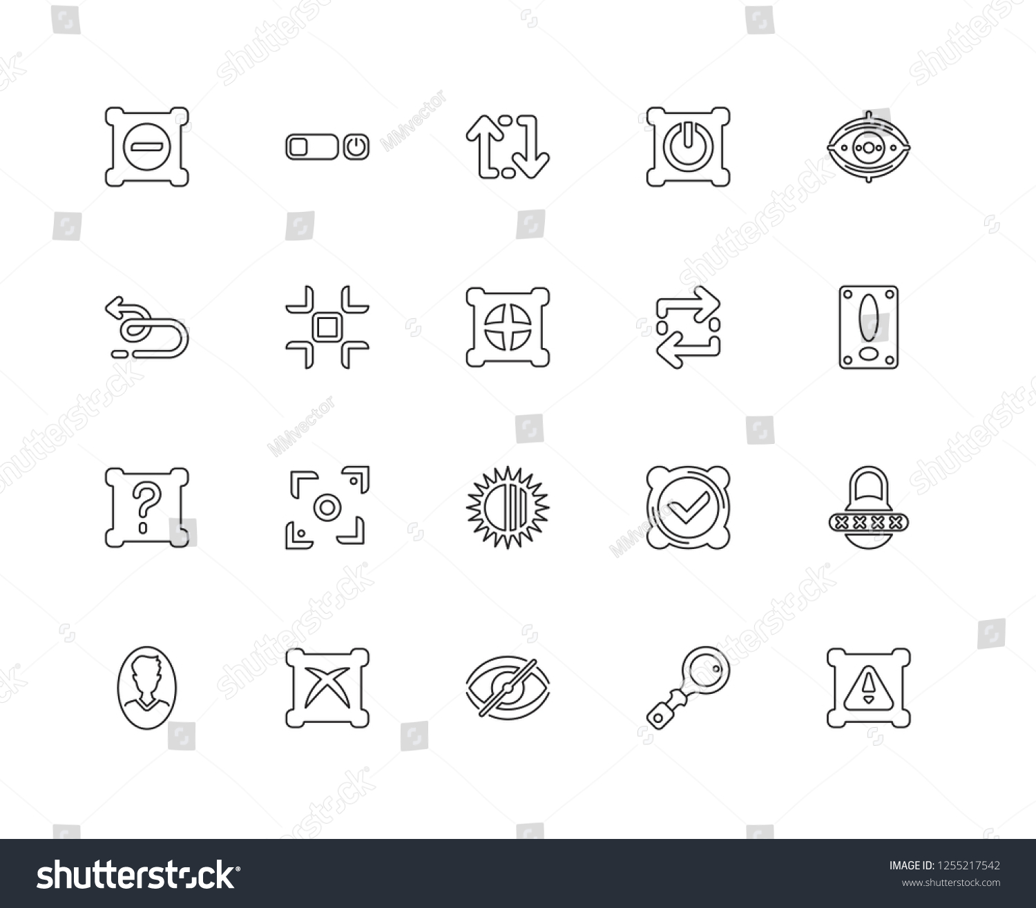 Set 20 Linear Interface Icons Such Stock Vector (Royalty Free