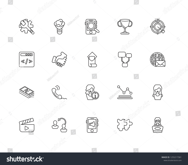 Set 20 Linear Job Resume Icons Stock Vector Royalty Free 1255217581