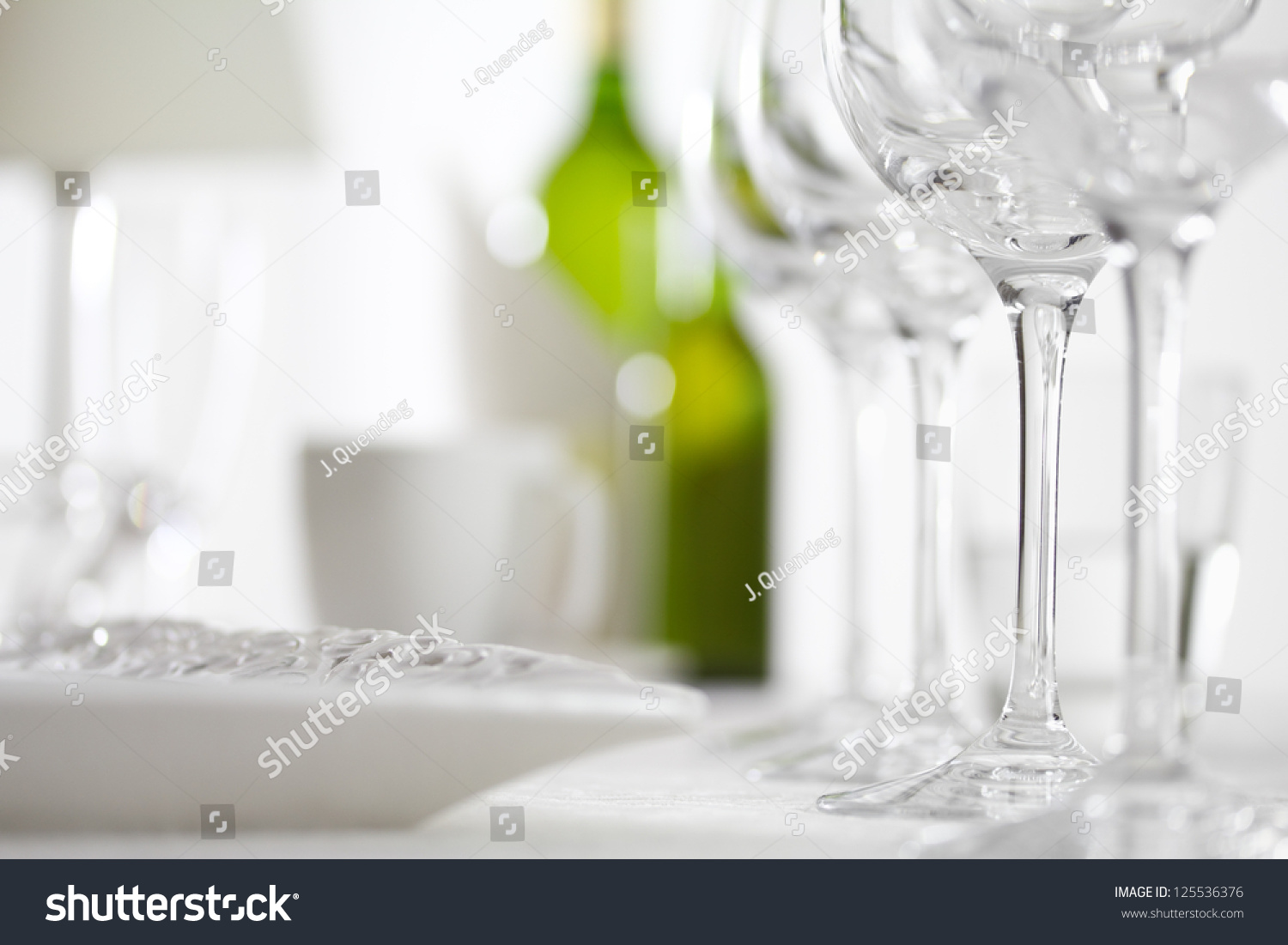 Elegant dinner table setting - Luxury Elegant Dinner Table Setting In Restaurant Or Hotel With Wine Glasses And White Wine