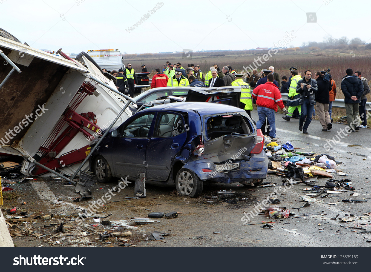 KLEIDI,GREECE - JAN,22: 28 vehicle pile… Stock Photo 125539169
