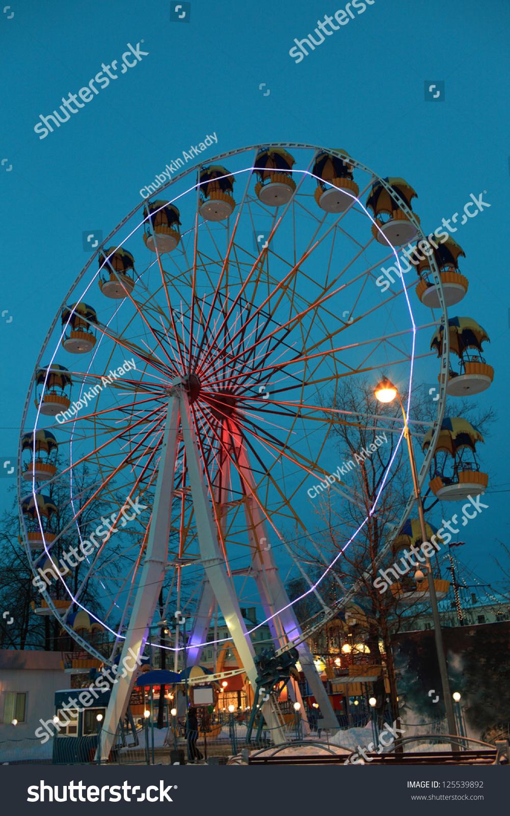 Ferris Wheel On Sky Background Winter Stock Photo