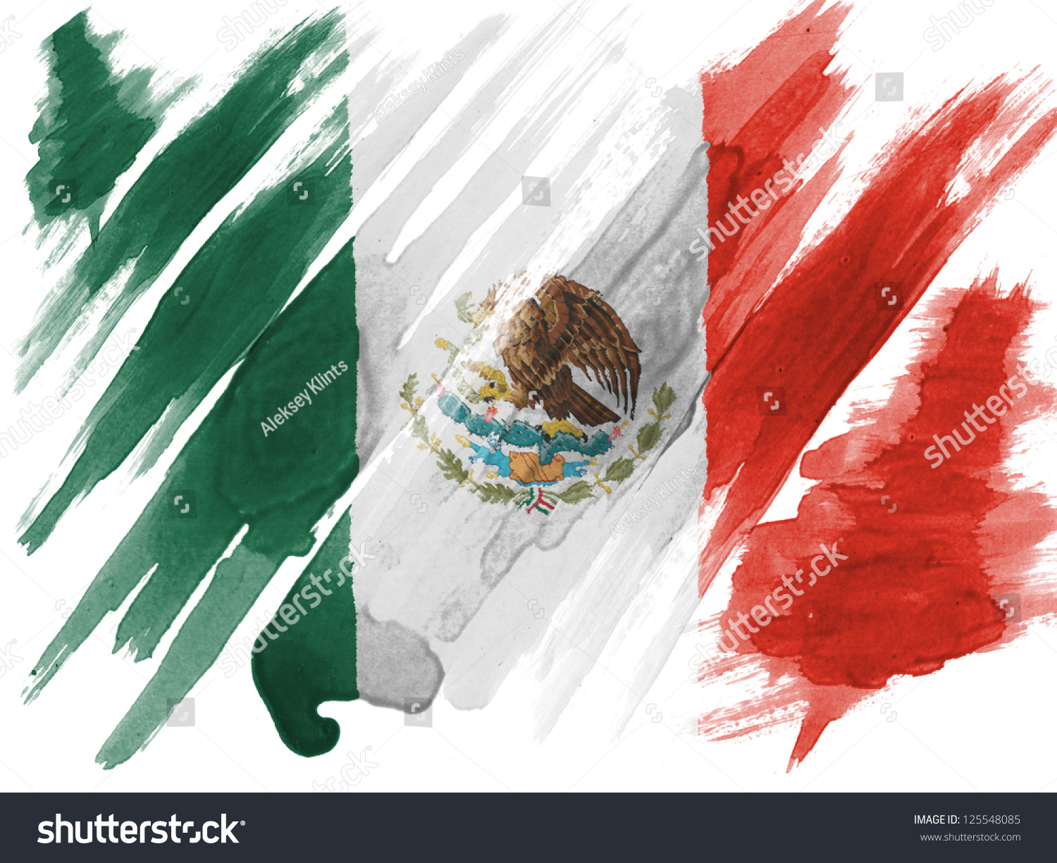 mexico mexican flag painted watercolor on stock photo 125548085