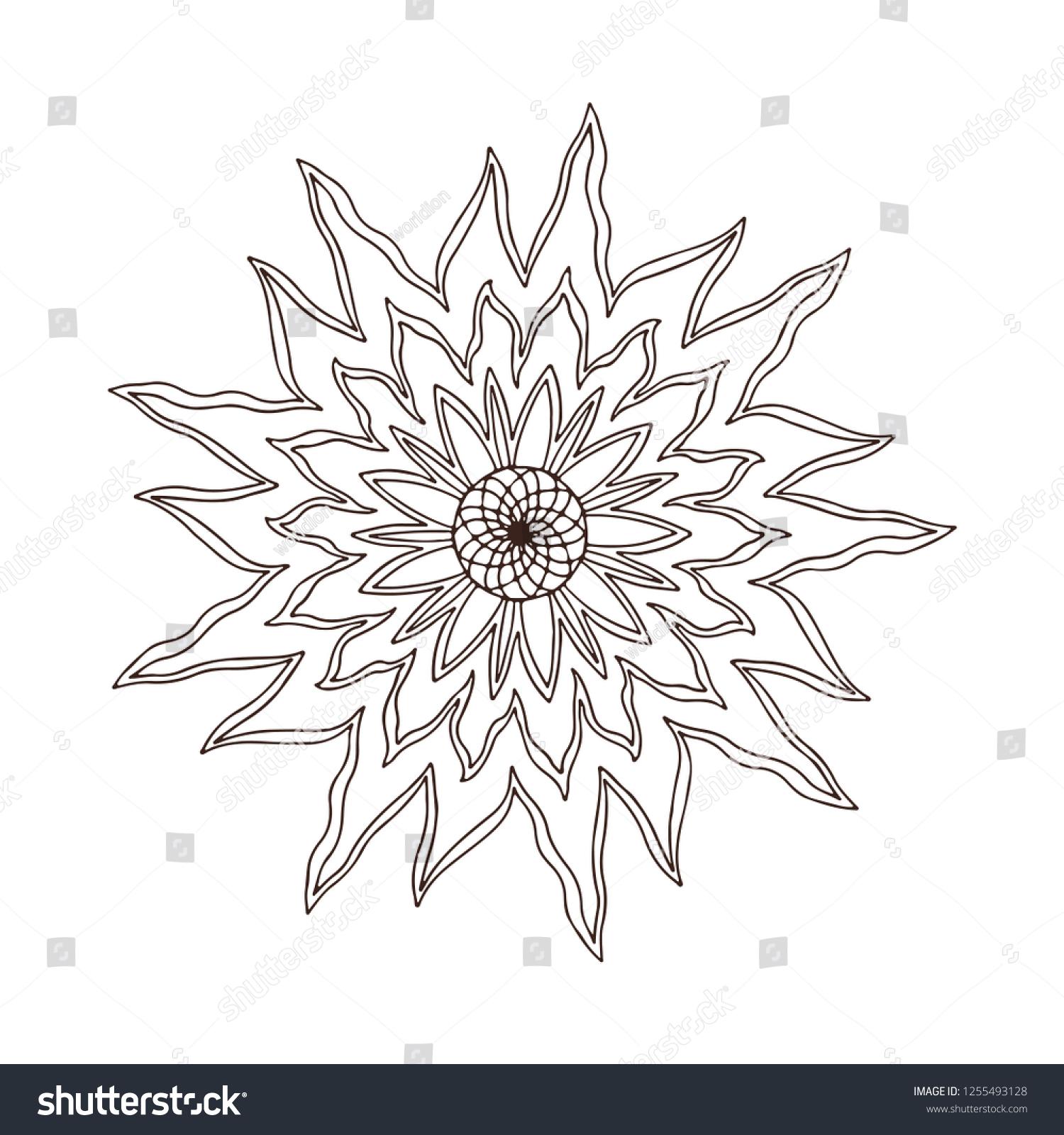 Fire Flower Mandala Tattoo Art Design Stock Vector Royalty Free