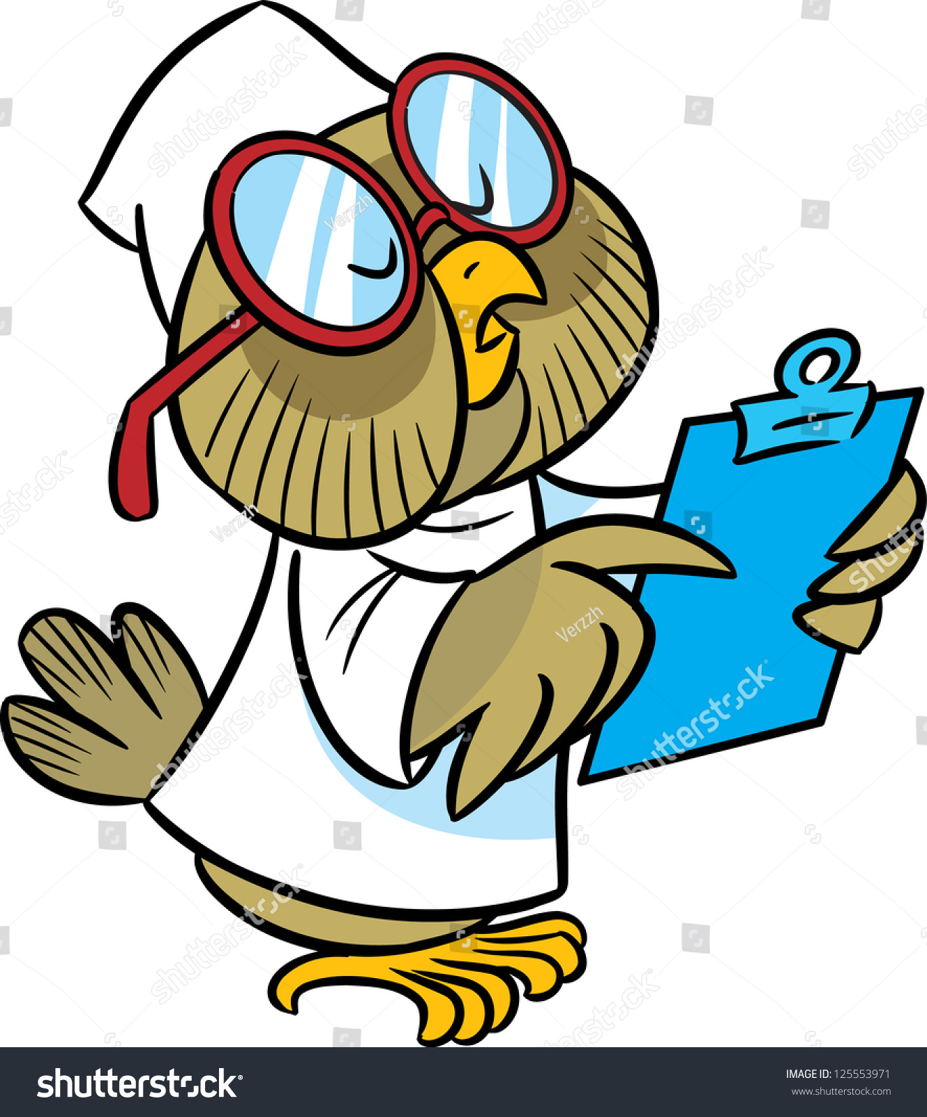 In The Illustration Cartoon Owl Doctor In A White Coat And Glasses