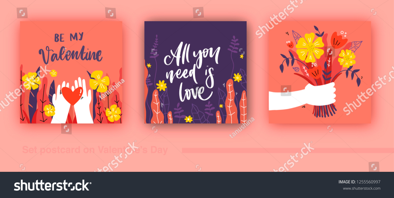 Romantic set of postcard. Love, Valentines Day. Vector design concept for Valentines Day and other users. #1255560997