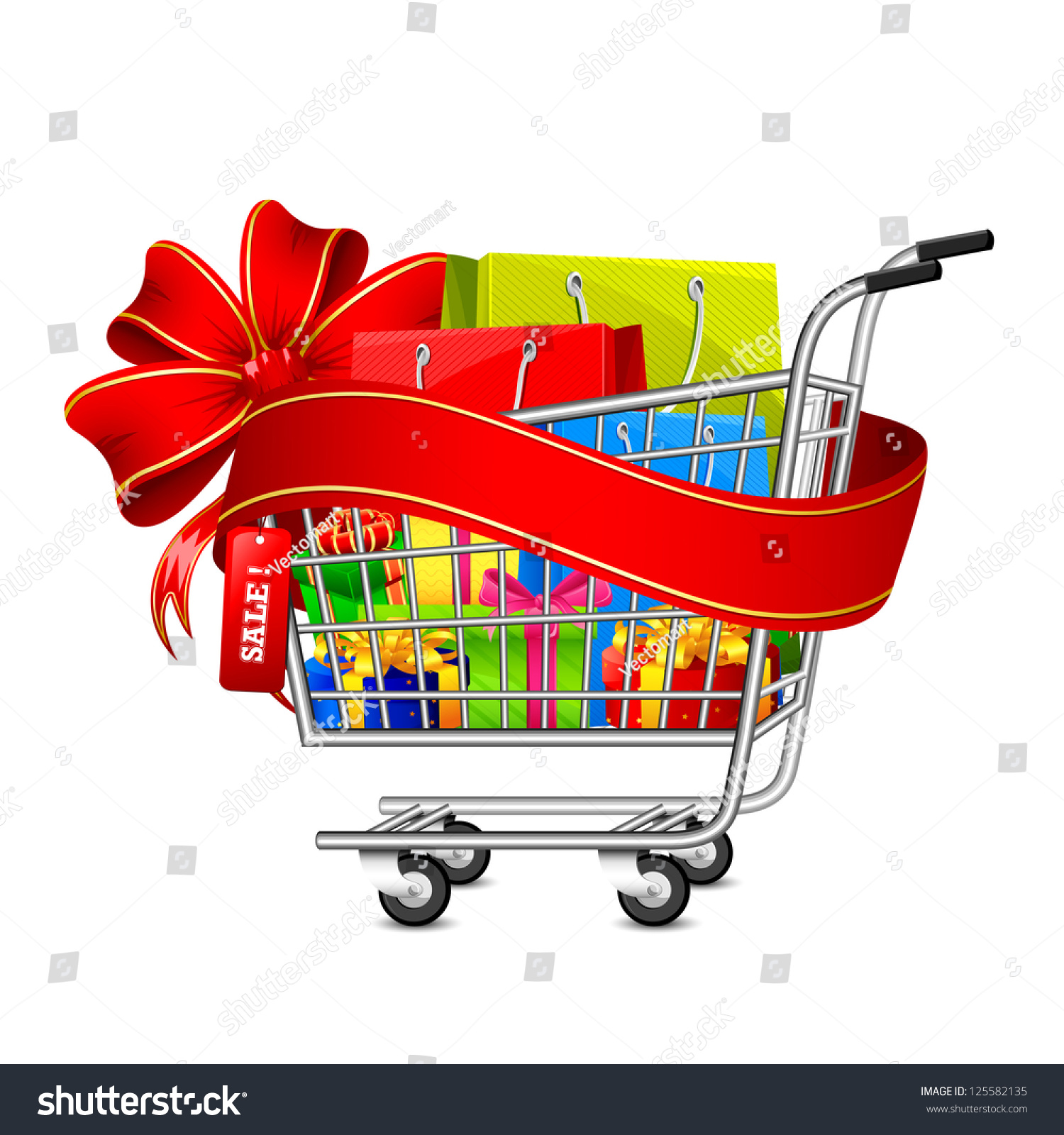 Illustration Cart Full Shopping Bag Gift Stock Vector 125582135 ...