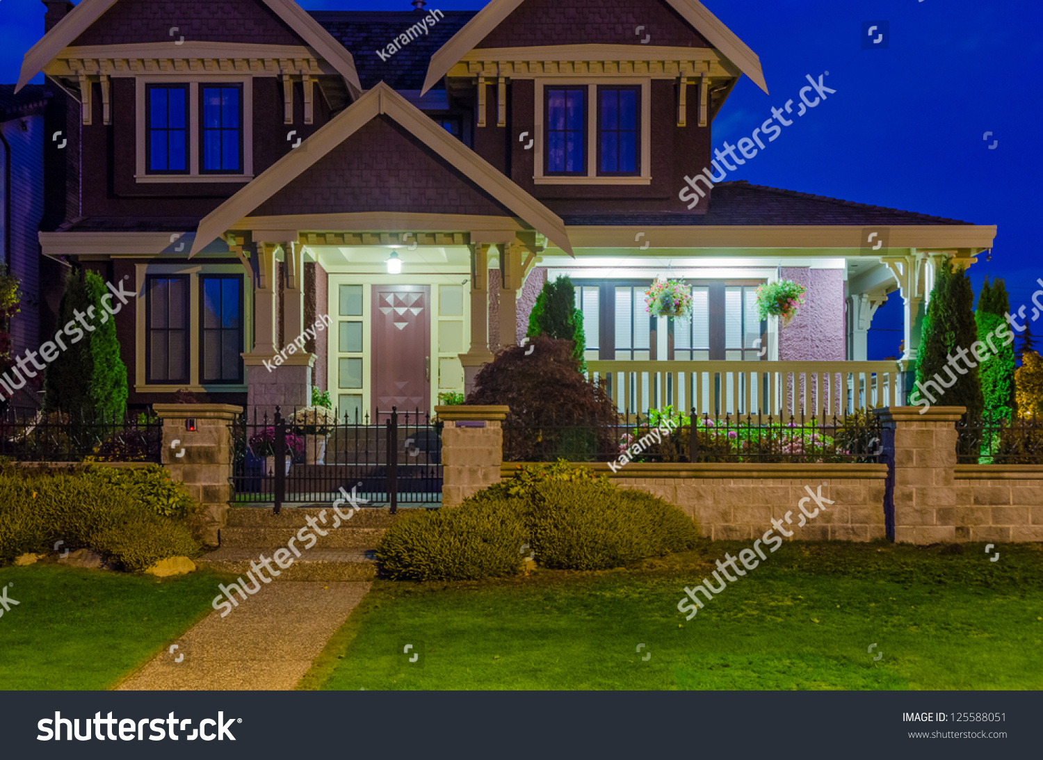 Luxury House At Night In Vancouver Canada Stock Photo 125588051