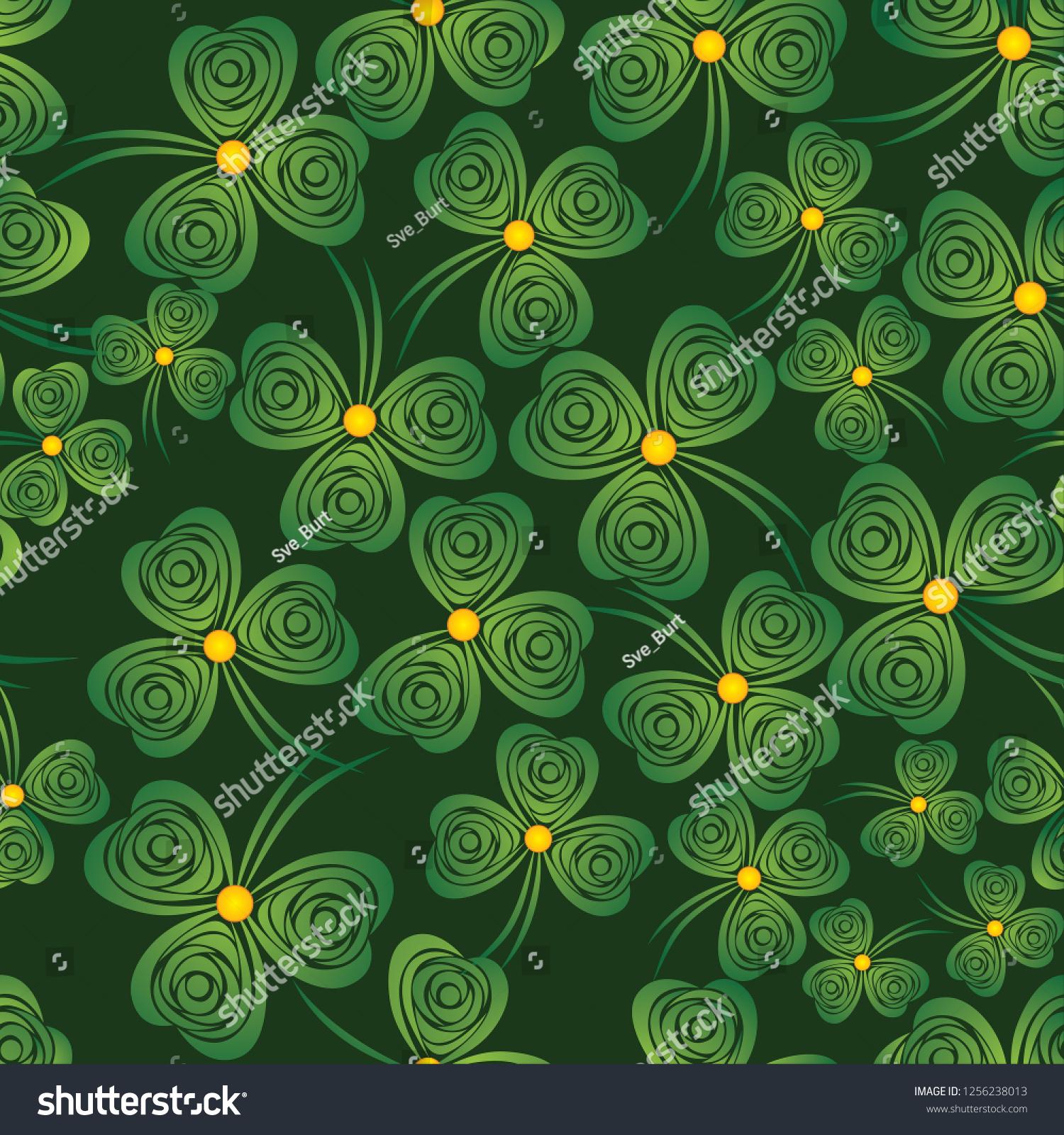シームレスなシャムロック 背景のクローバーのベクター画像 緑の壁紙