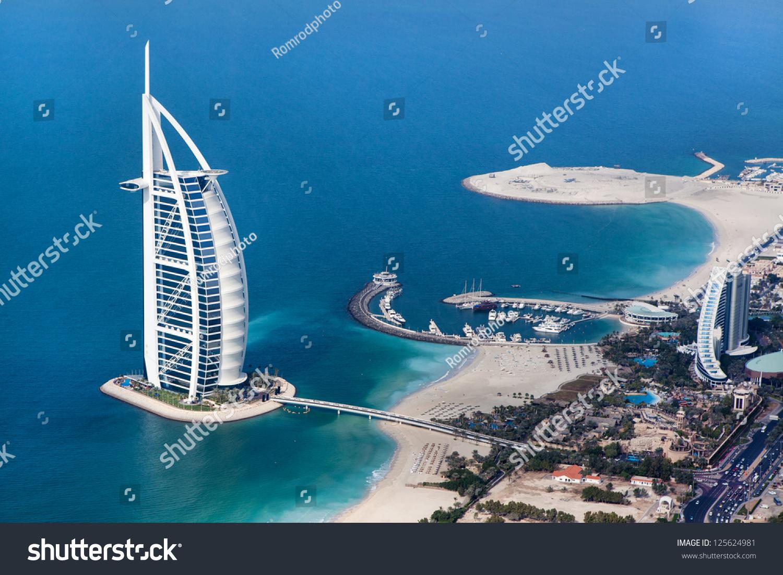 Dubai The Palm Island Atlantis Hotel Burj Al Arab Aerial ...  |Palm Island Dubai From Burj Hotel