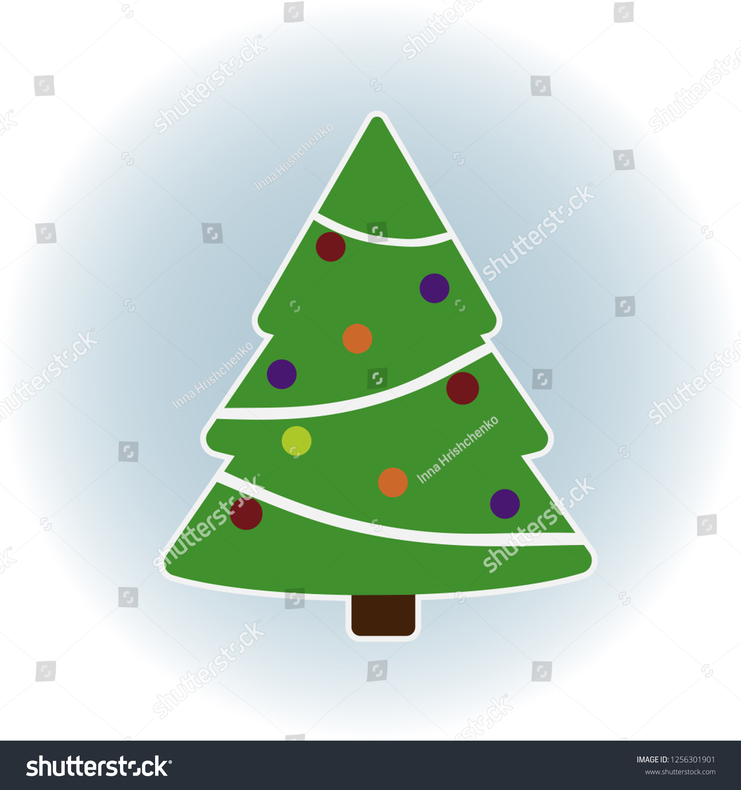 Green Christmas Tree Toys Illustration Print Stock Vector Royalty Free 1256301901