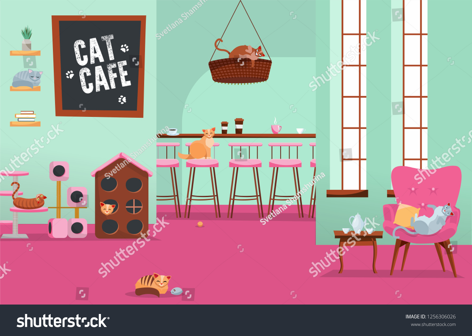 Interior Cat Cafe Cozy Place Many Stock Vector Royalty Free 1256306026