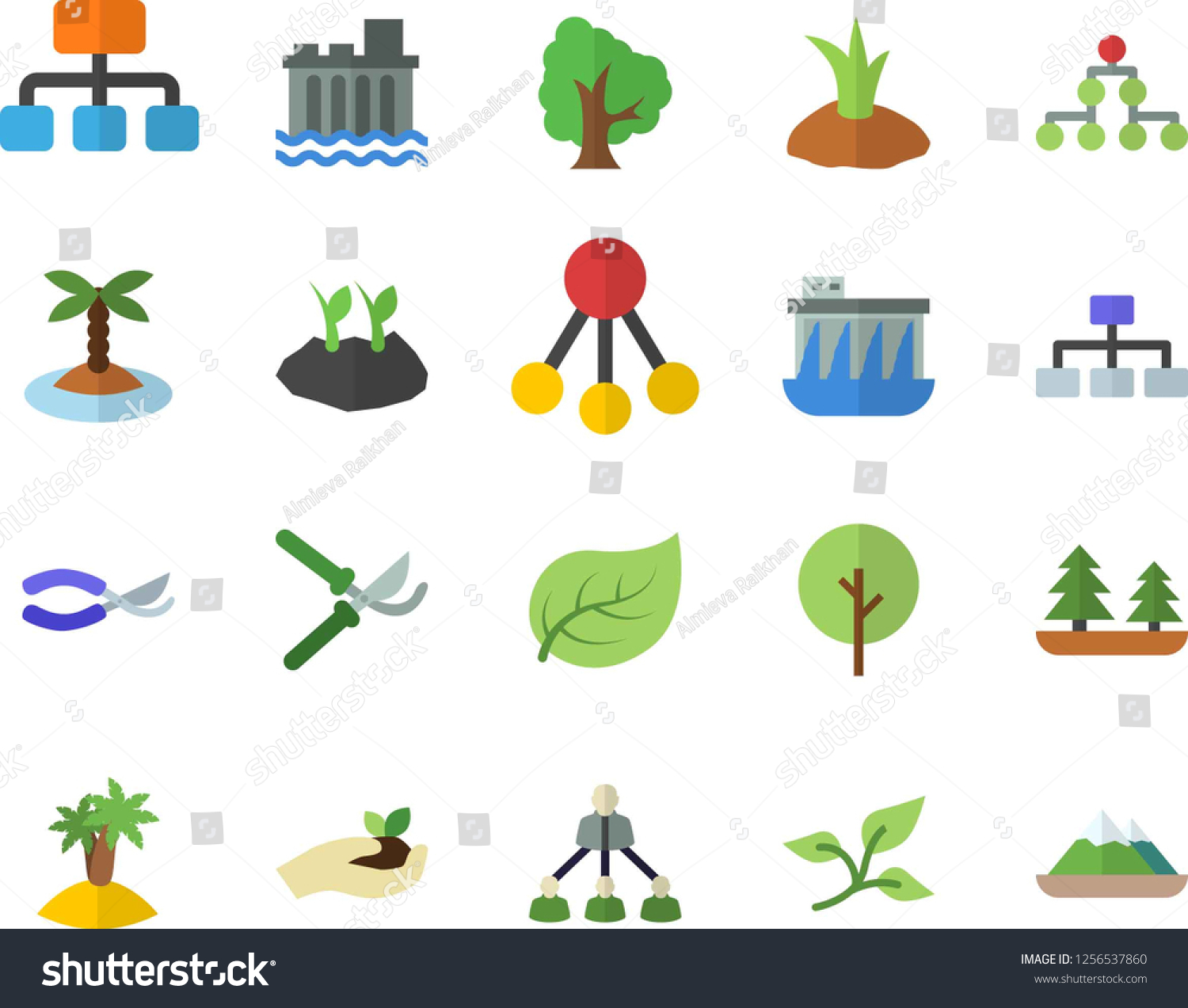 Color Flat Icon Set Tree Flat Stock Vector (Royalty Free) 1256537860