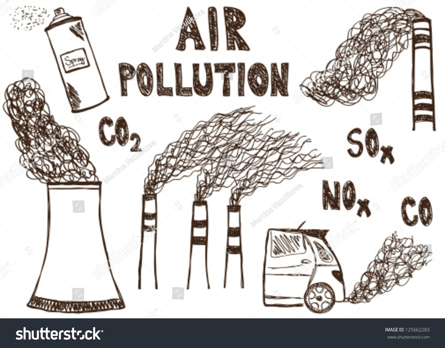 Illustration of air pollution doodle drawings on white background
