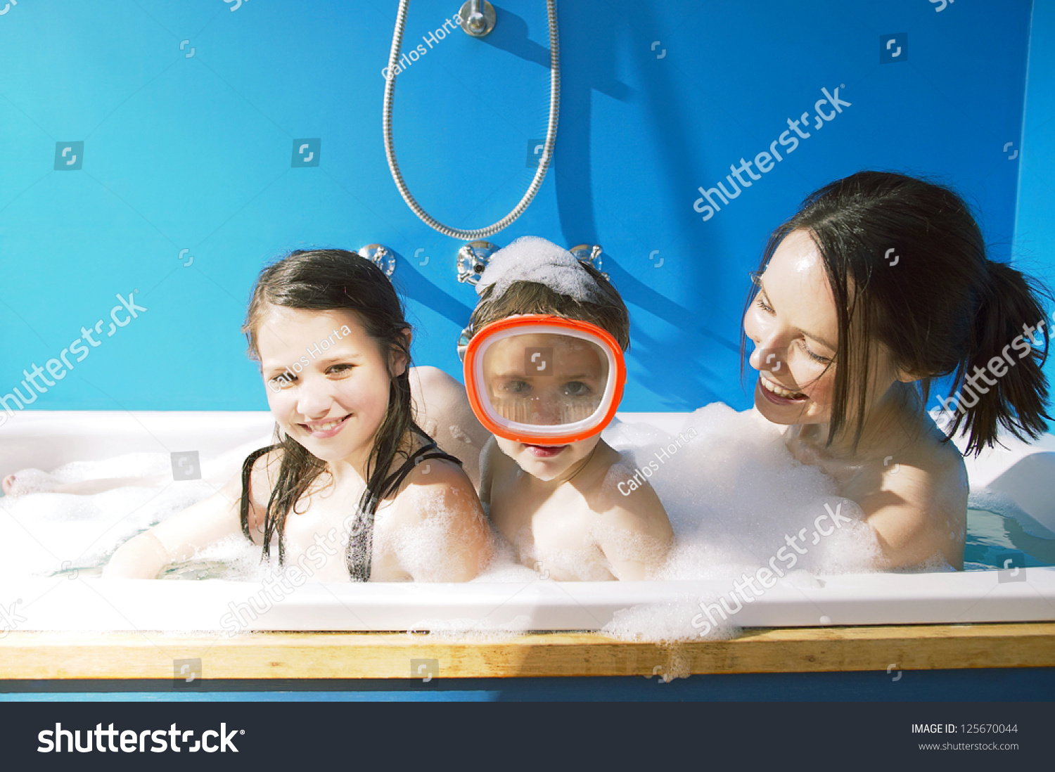 Mother Her Kids Taking Bath Together Stock Photo (Safe to Use ...