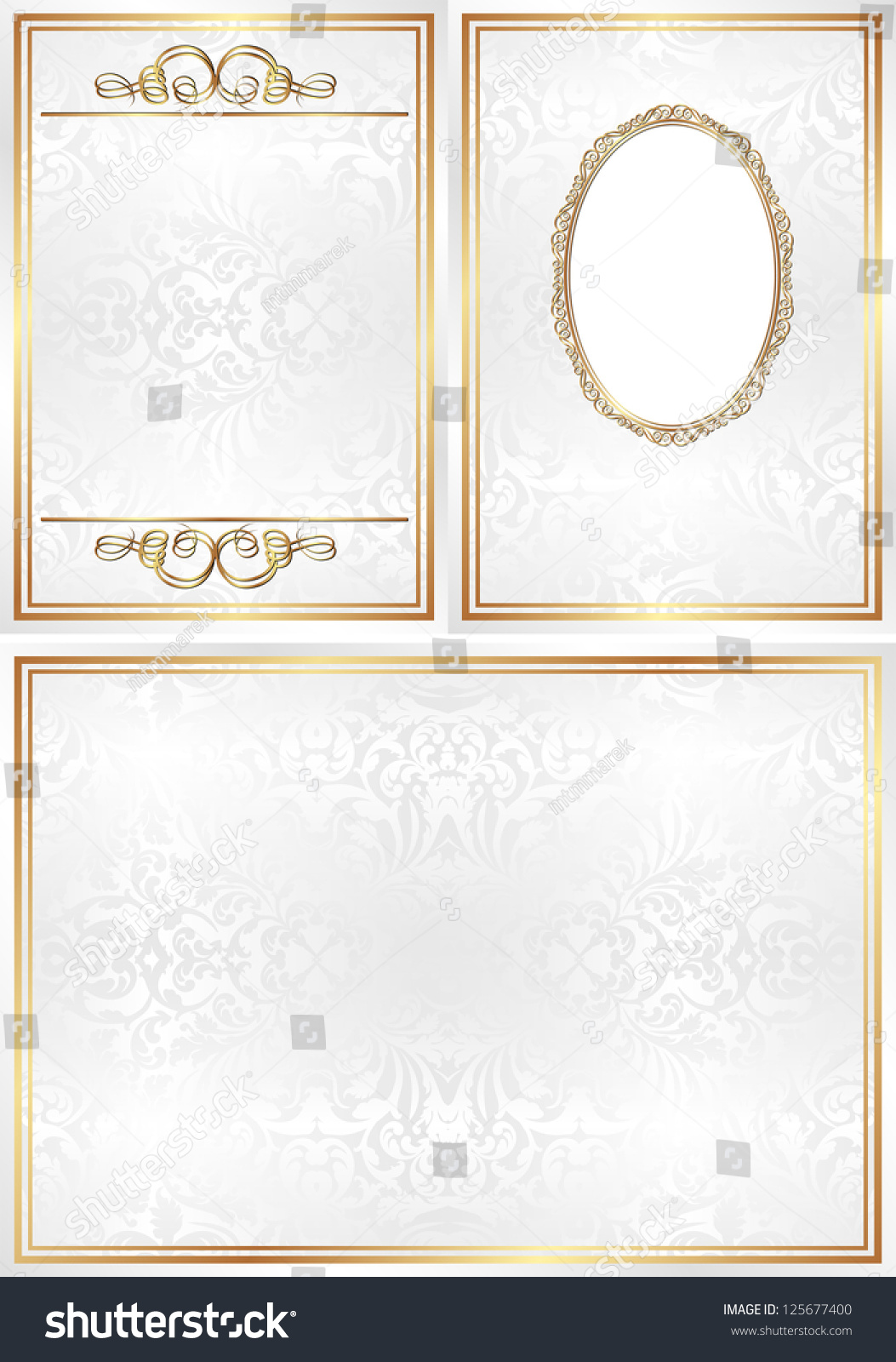 White Gold Invitation Template Transparent Space Stock Vector