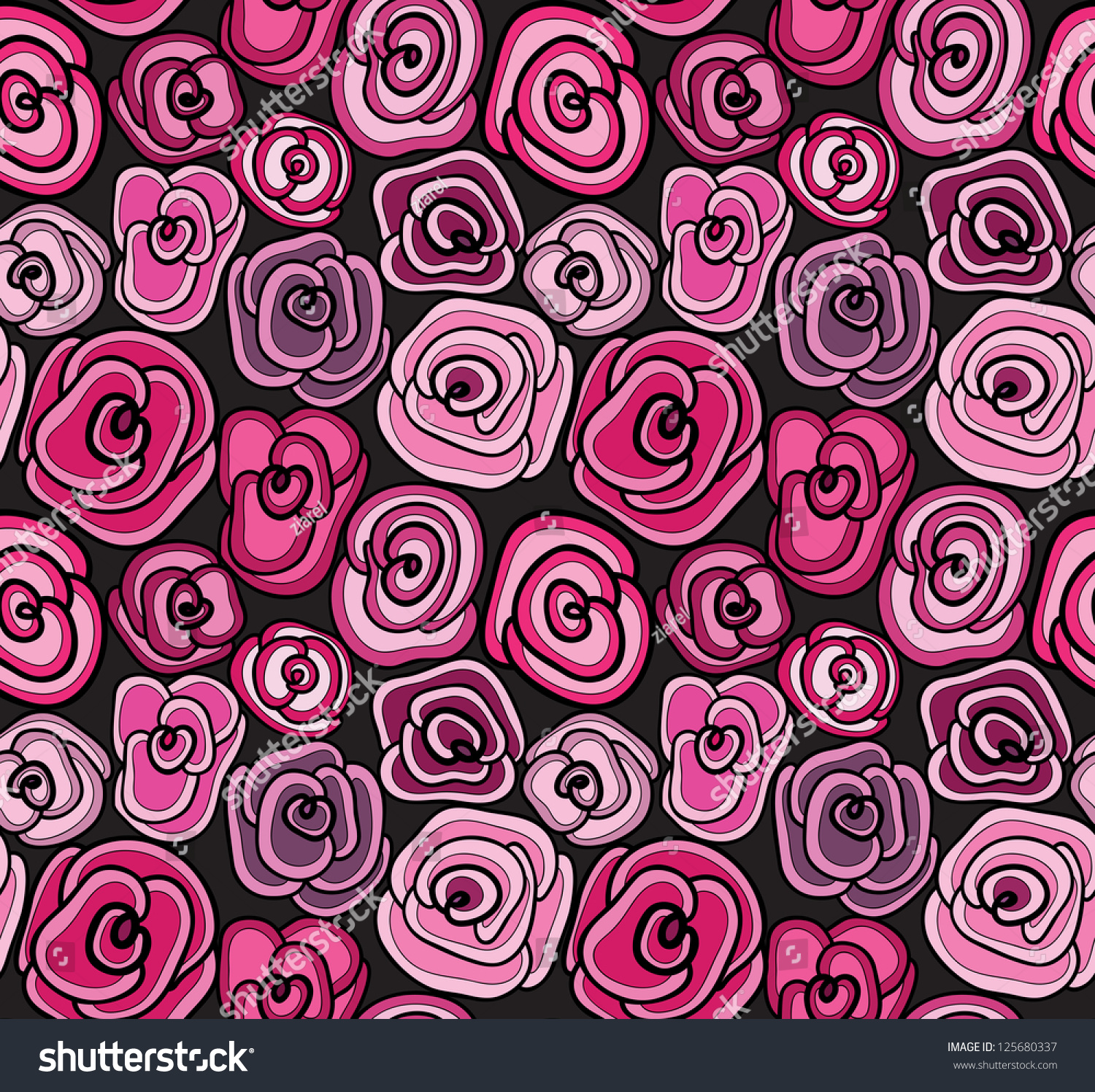 beautiful pink on black roses floral stock vector 125680337