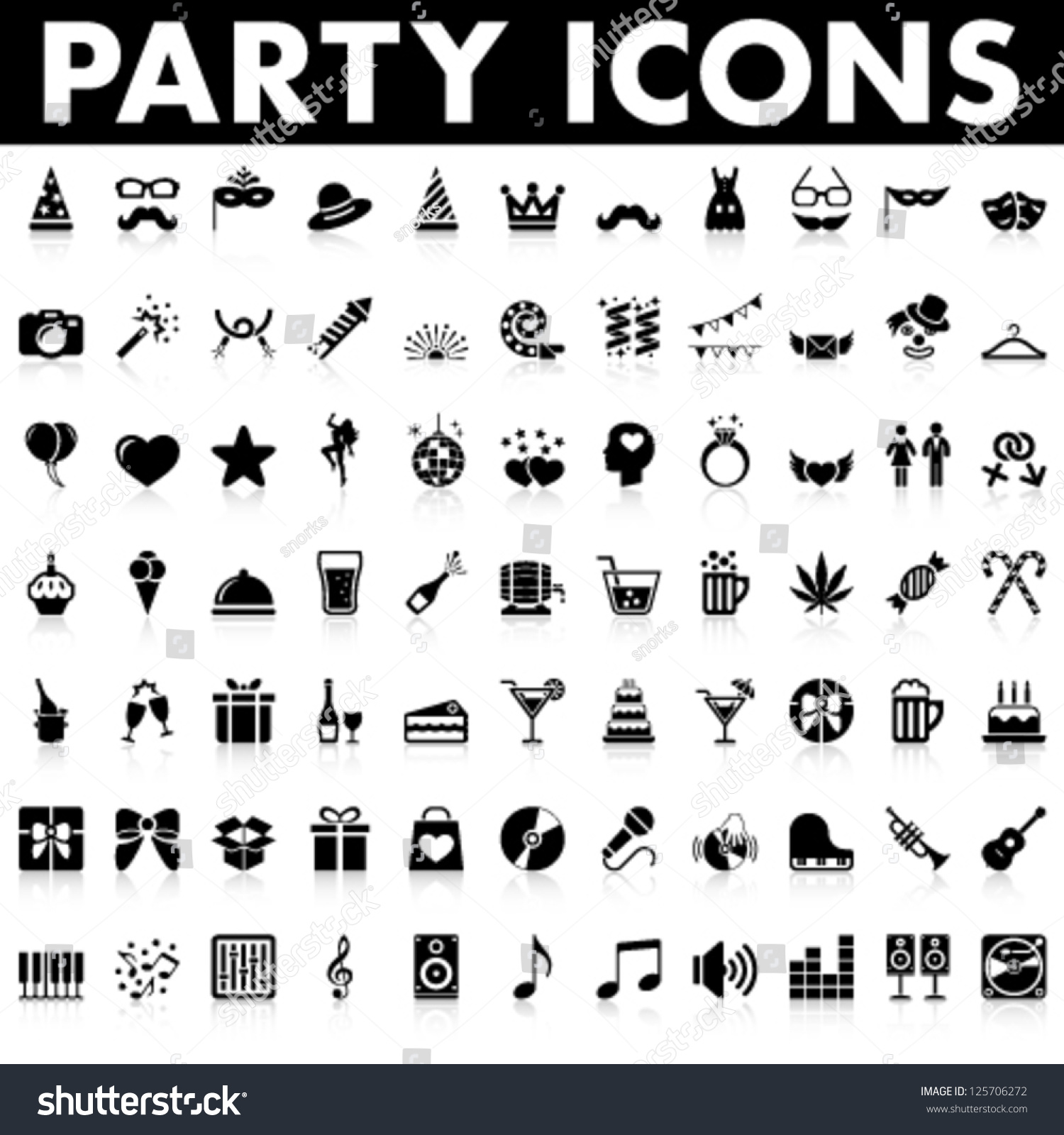 Party Icons Stock Vector 125706272 - Shutterstock