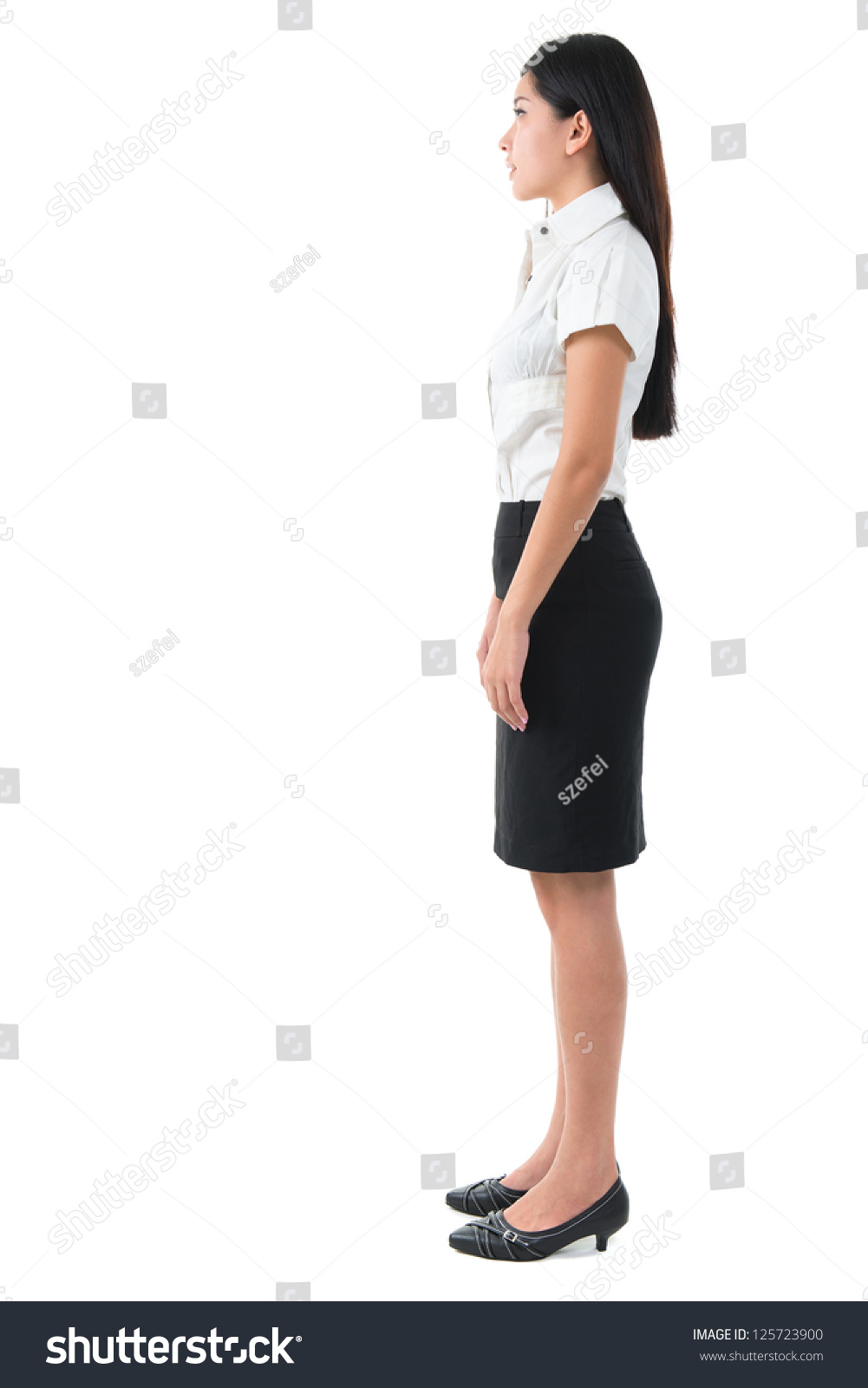 full body side view beautiful asian stock photo 125723900
