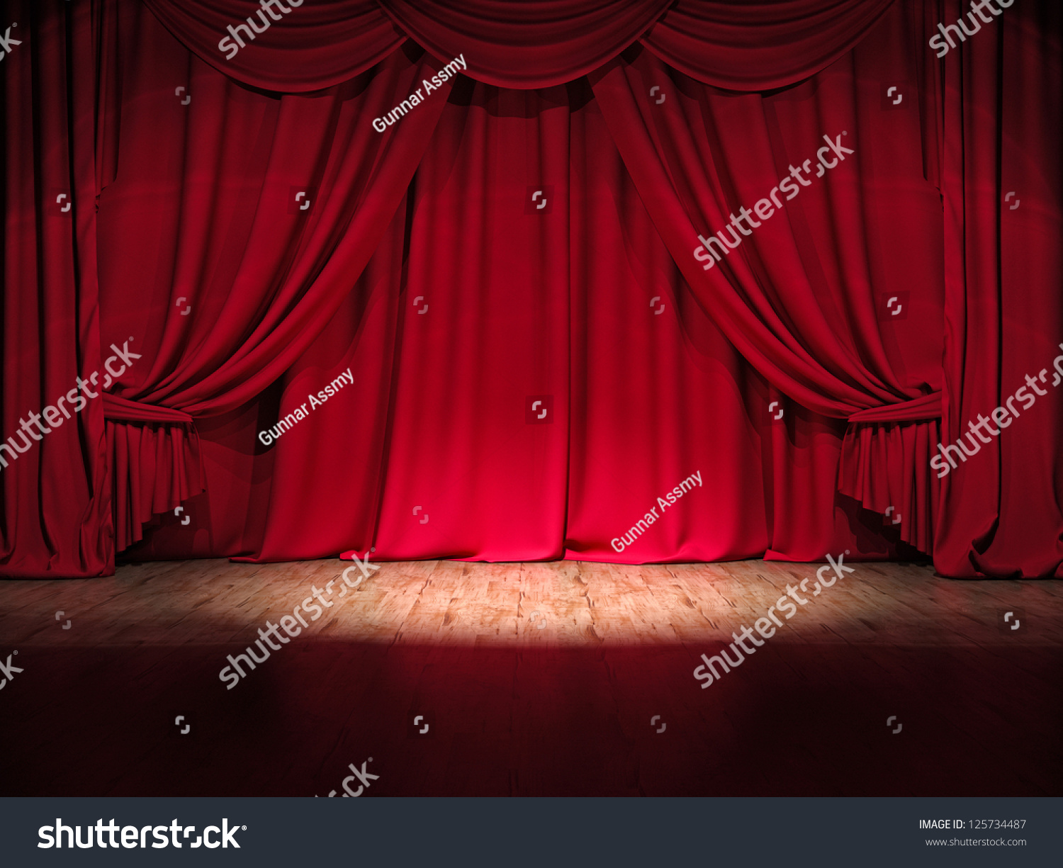 Theater Stage Red Curtains Show Spotlight Stock Illustration ...