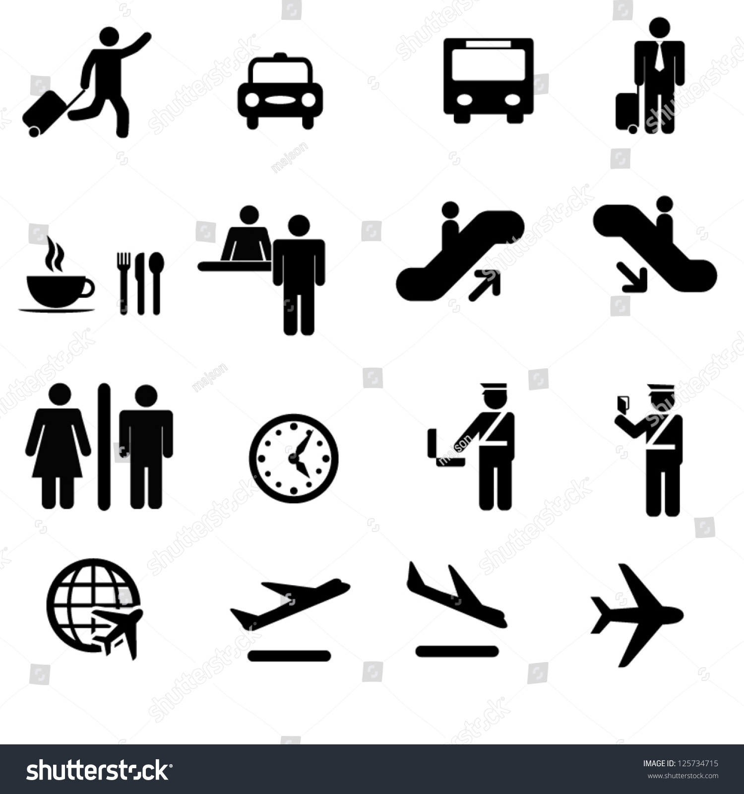 Set Airport Icons Stock Vector 125734715 Shutterstock