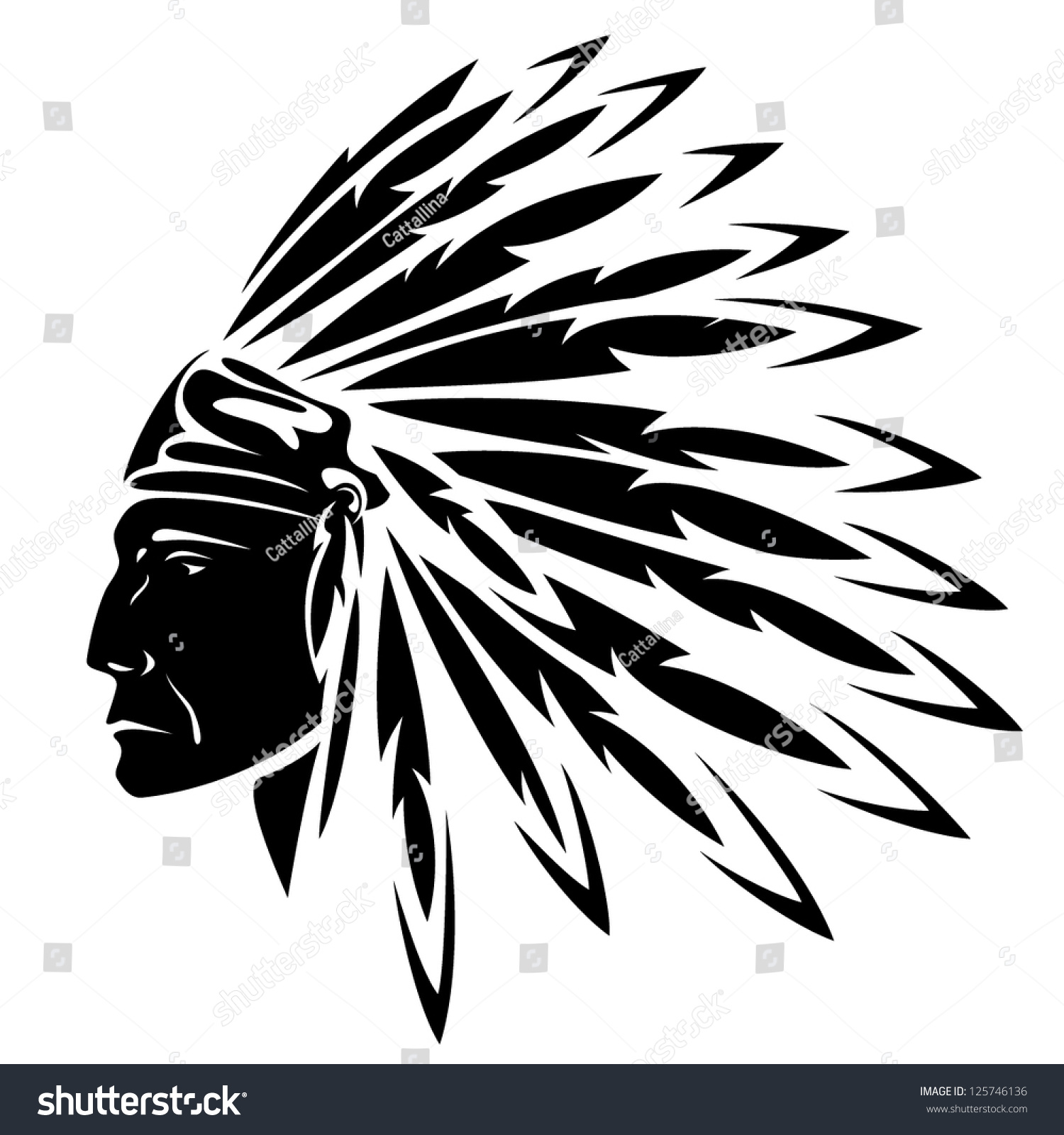 41d1aba76594f North American Indian chief - vector… Stock Photo 125746136 - Avopix.com