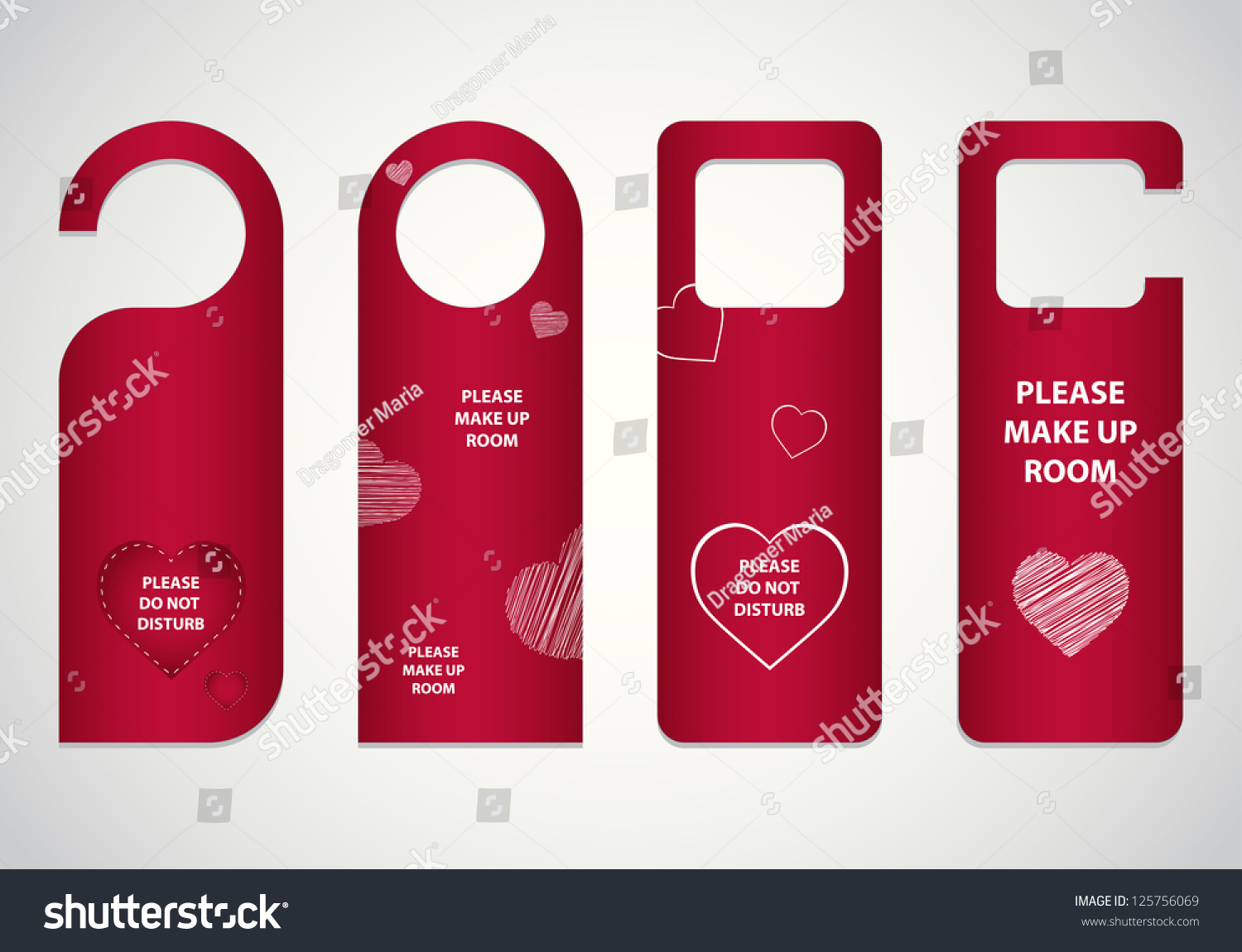 Door Tags Valentines Day Design Stock Vector 125756069 - Shutterstock