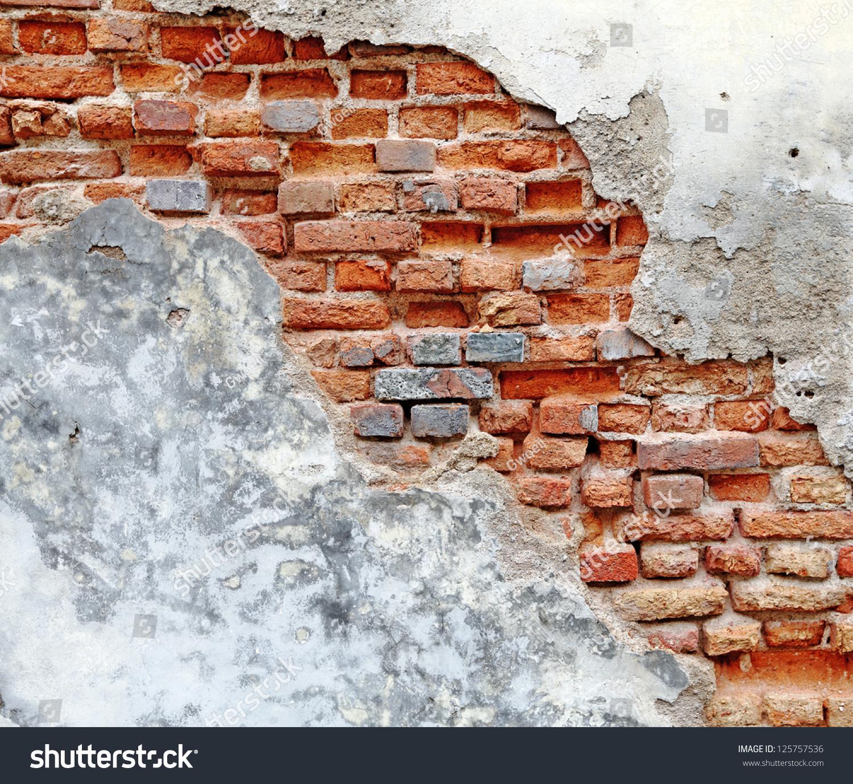 Red Clay Bricks : Damaged red clay brick wall blank stock photo
