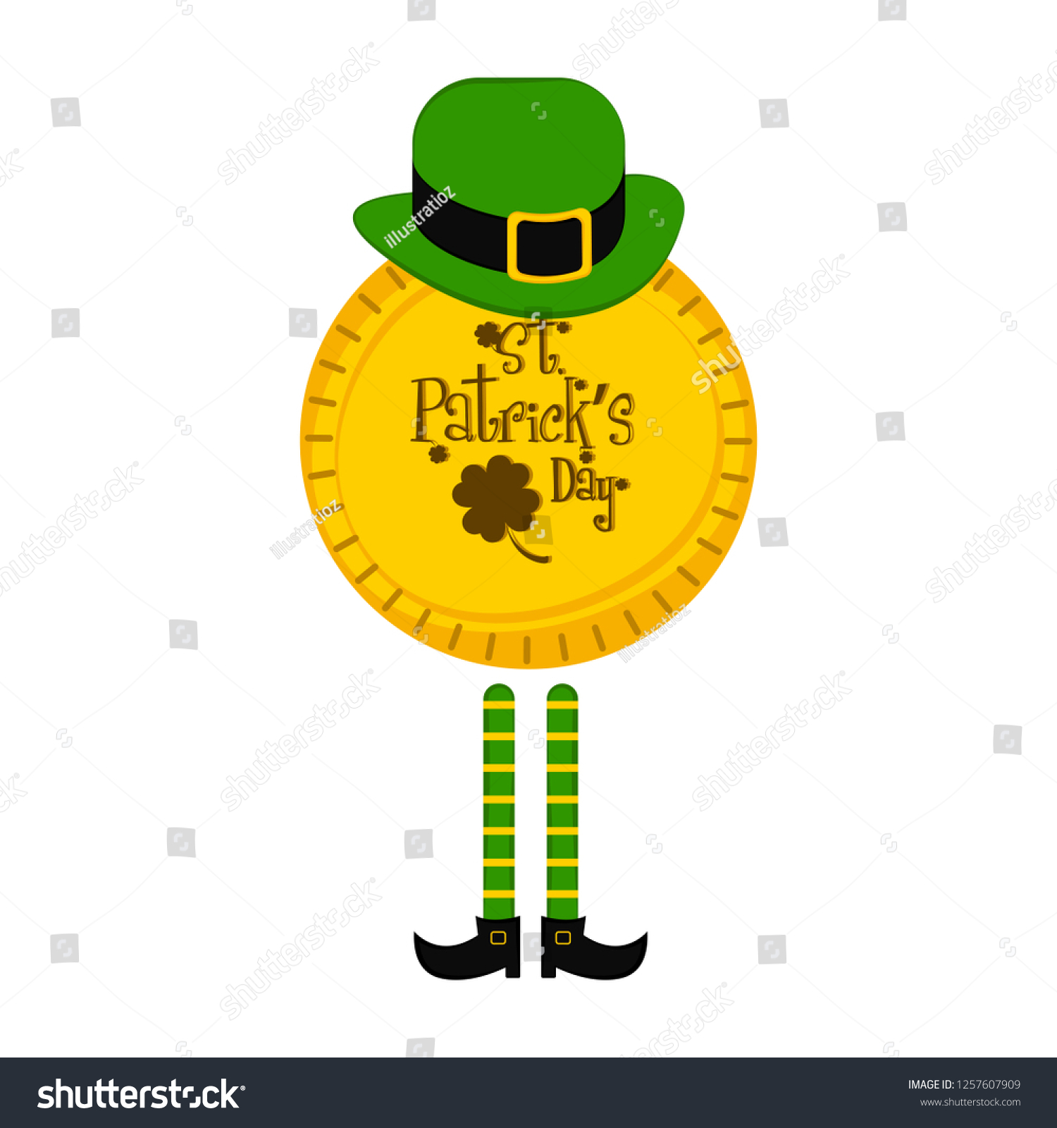 8381c8e6105 Saint patrick day golden coin with traditional irish hat and elf legs.  Vector illustration design