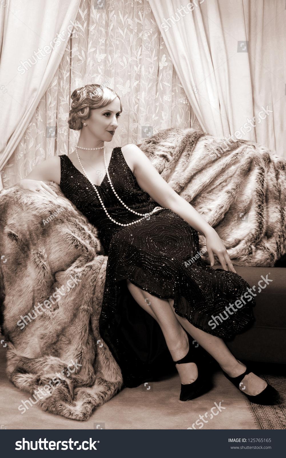 Reenactment Vintage Scene Lady Roaring Twenties Stock Photo (Royalty ...