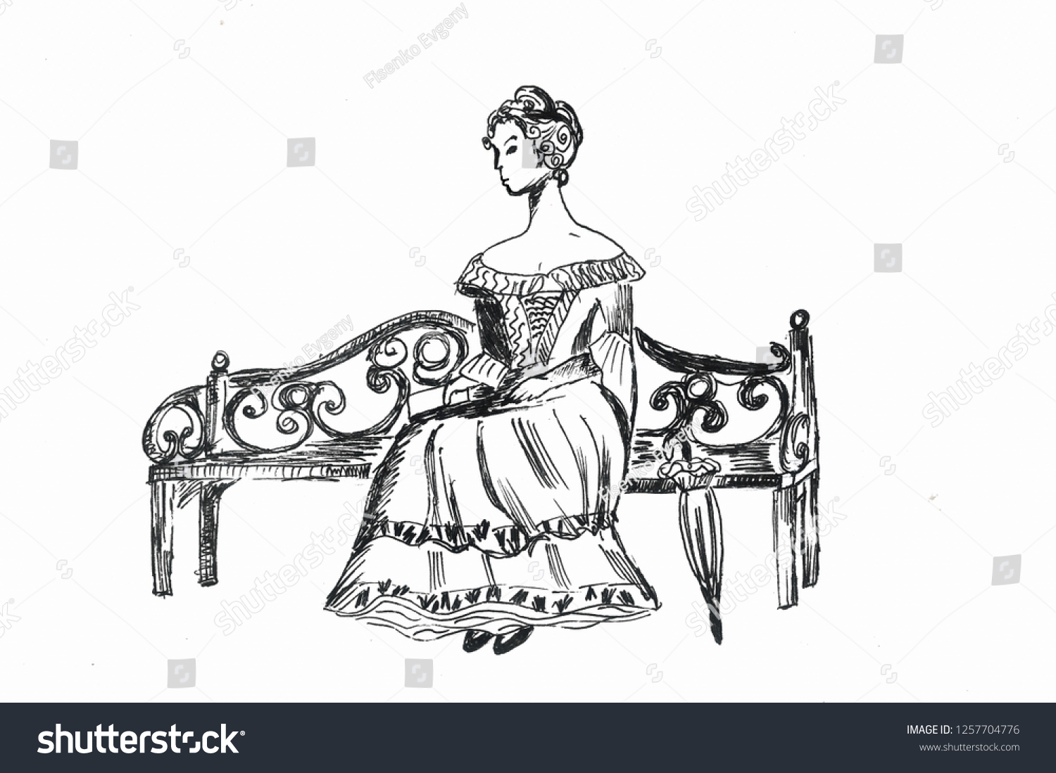 Graphic drawing the girl in an evening dress sits on the forged bench