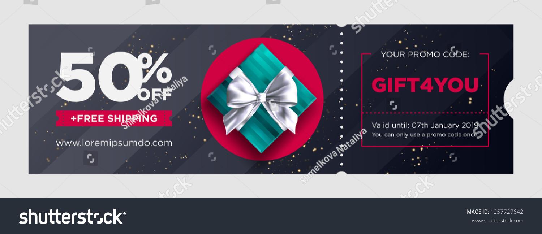 Vector Birthday Gift Coupon Elegant Christmas Voucher Design Premium EGift Card Background For E