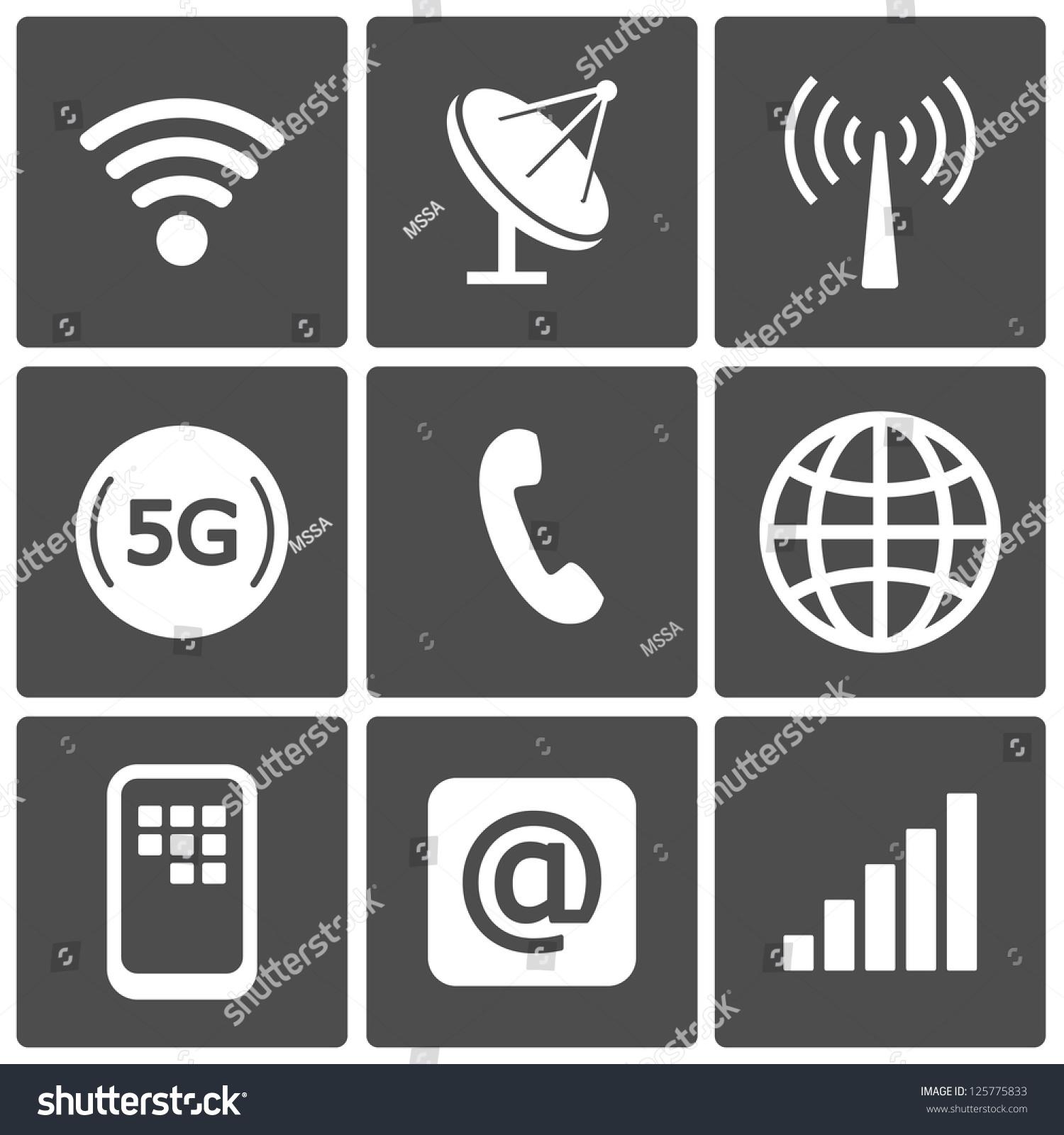Communication Icons Connection Symbols Wifi Gsm Stock Photo (Photo ...