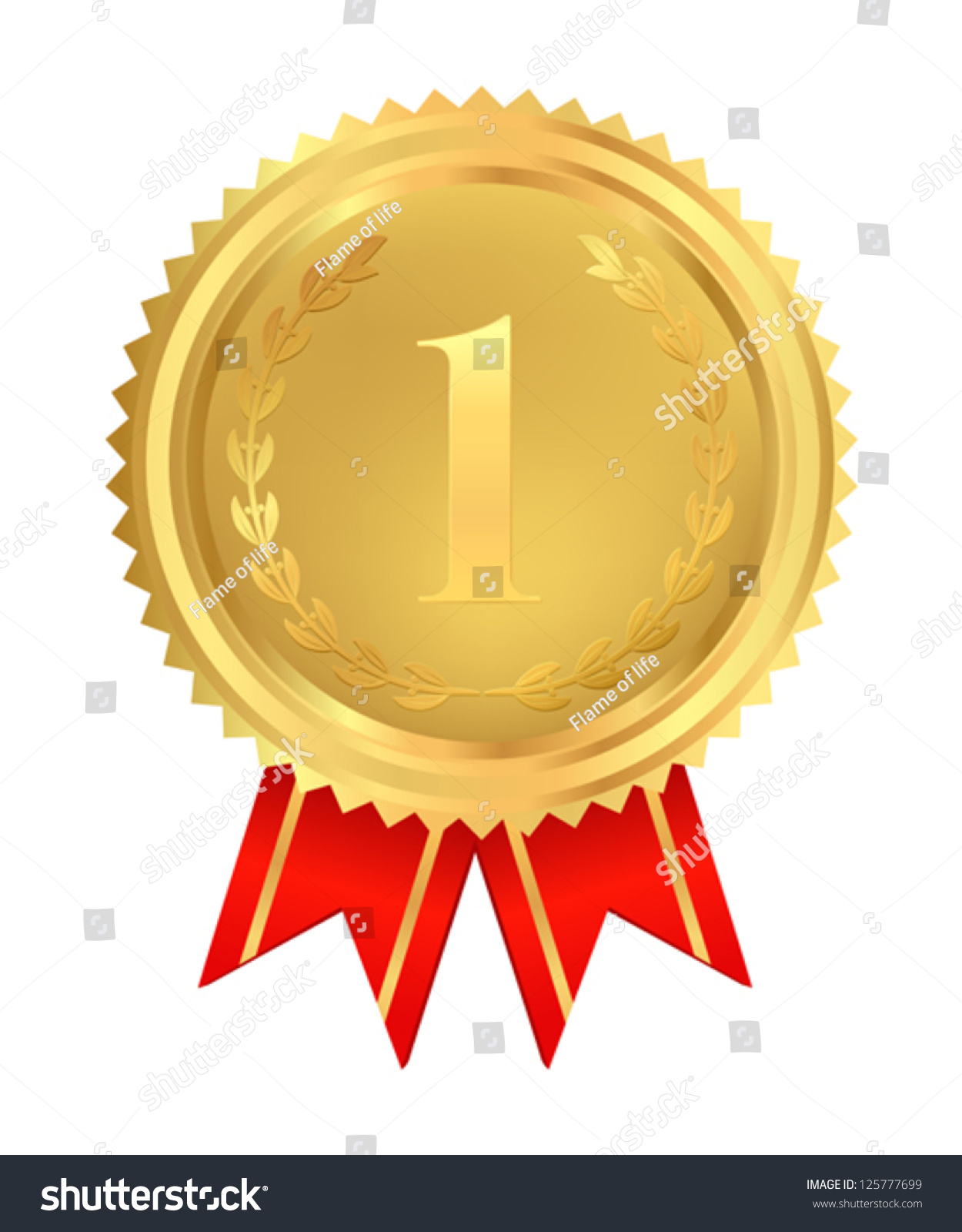 Golden Medal Badge First Place Awards Vector 125777699 – First Place Award Certificate