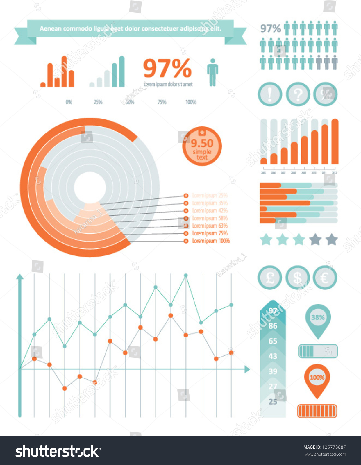 Detail info graphics collection graphs histograms stock for Table graphic design