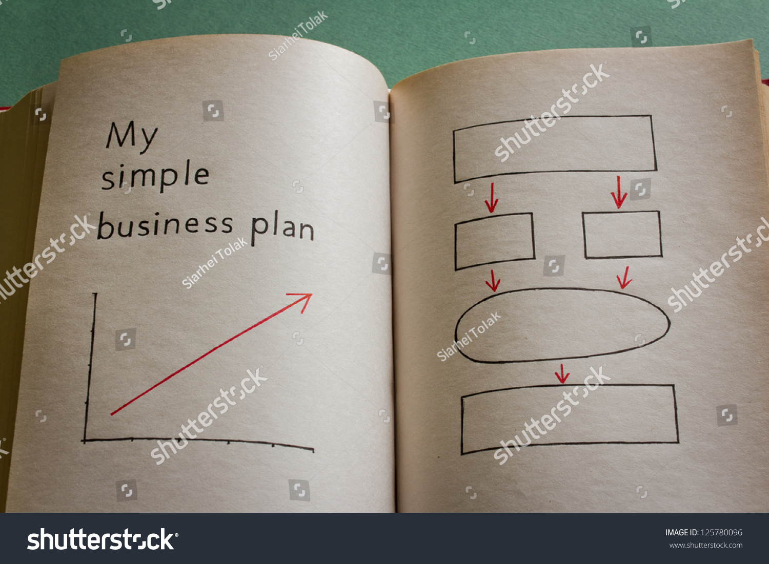 My Simple Business Plan In The Blank Book With Grow Graph